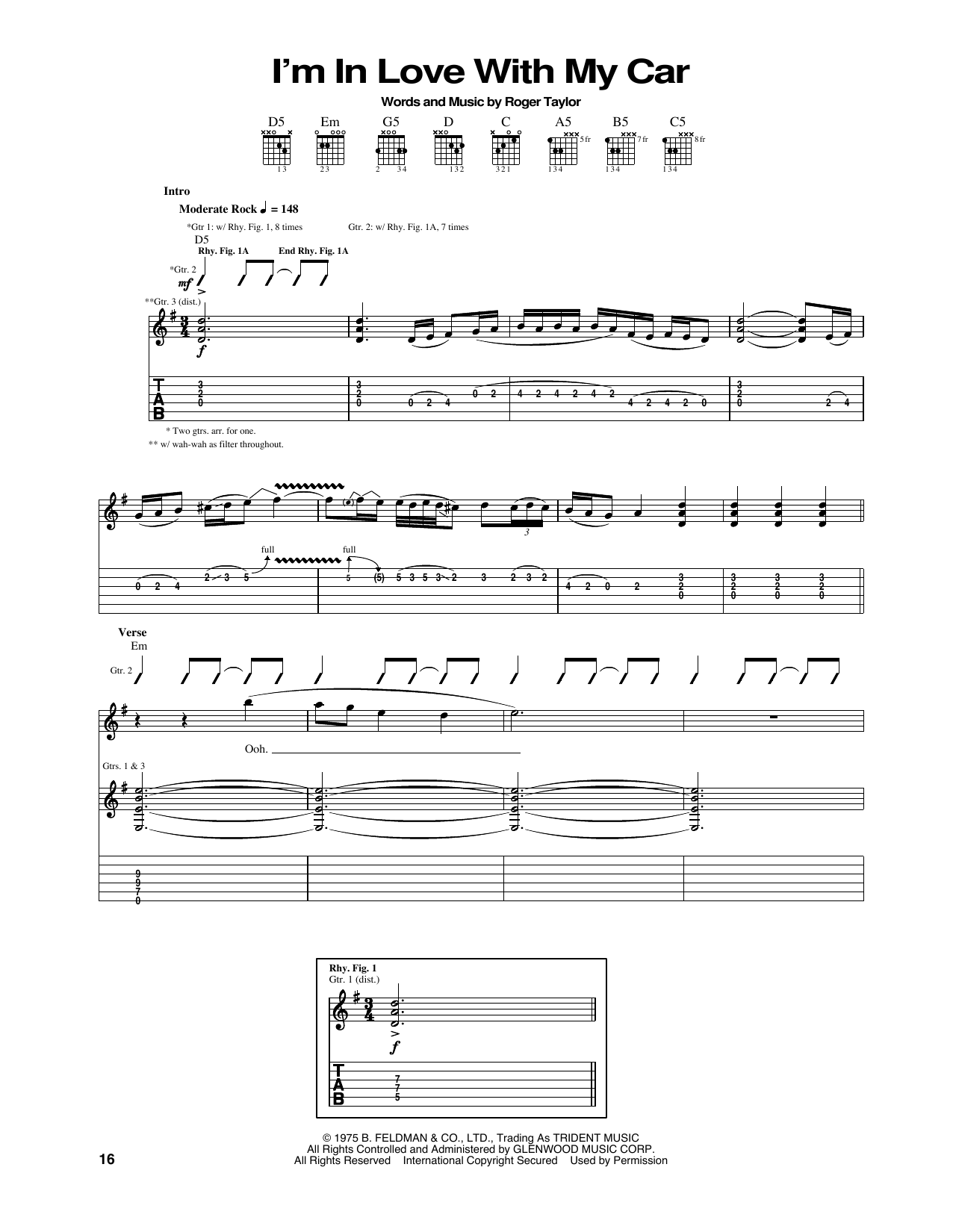 Tablature guitare I'm In Love With My Car de Queen - Tablature Guitare