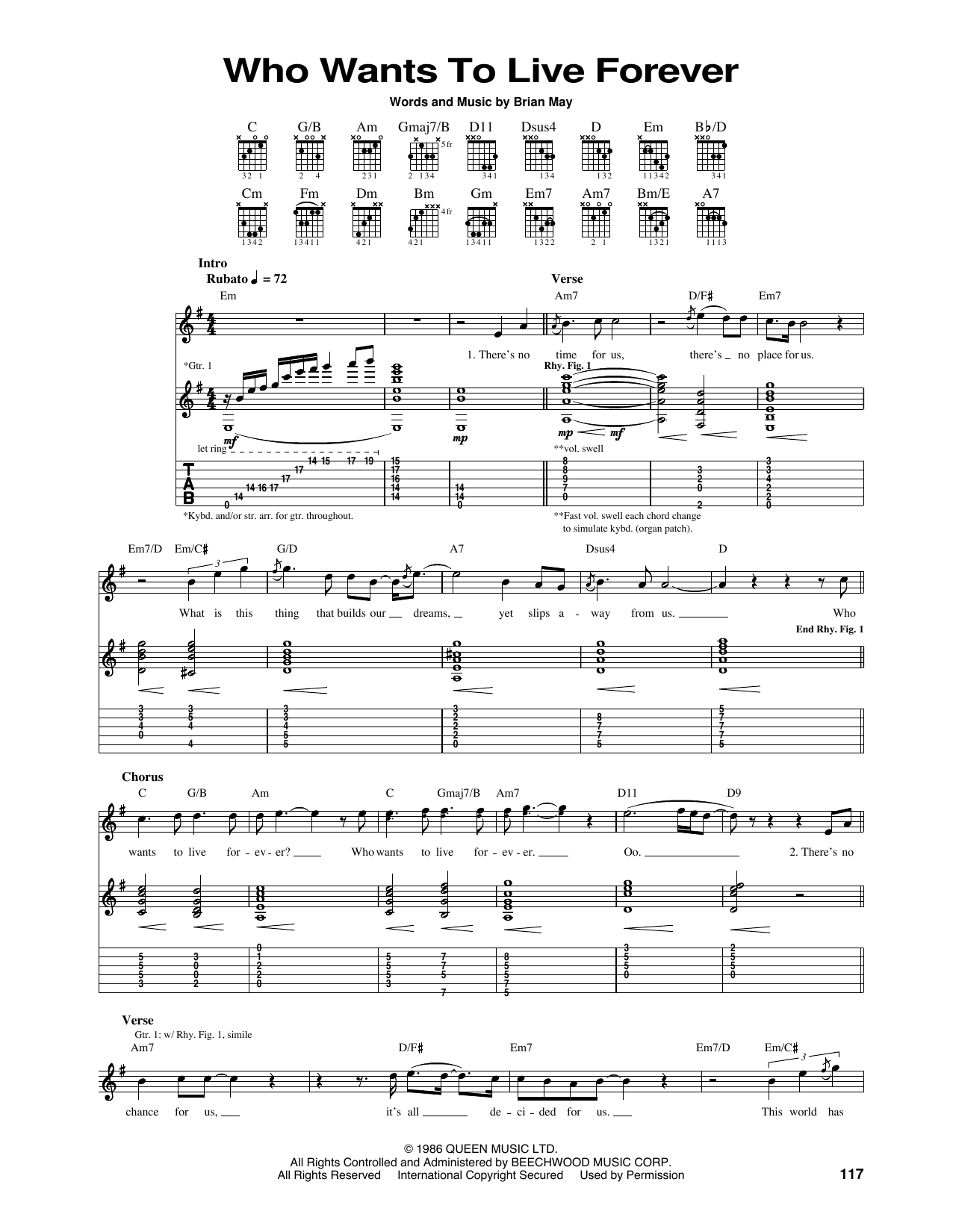 Who Wants To Live Forever Guitar Tab by Queen (Guitar Tab u2013 165909)