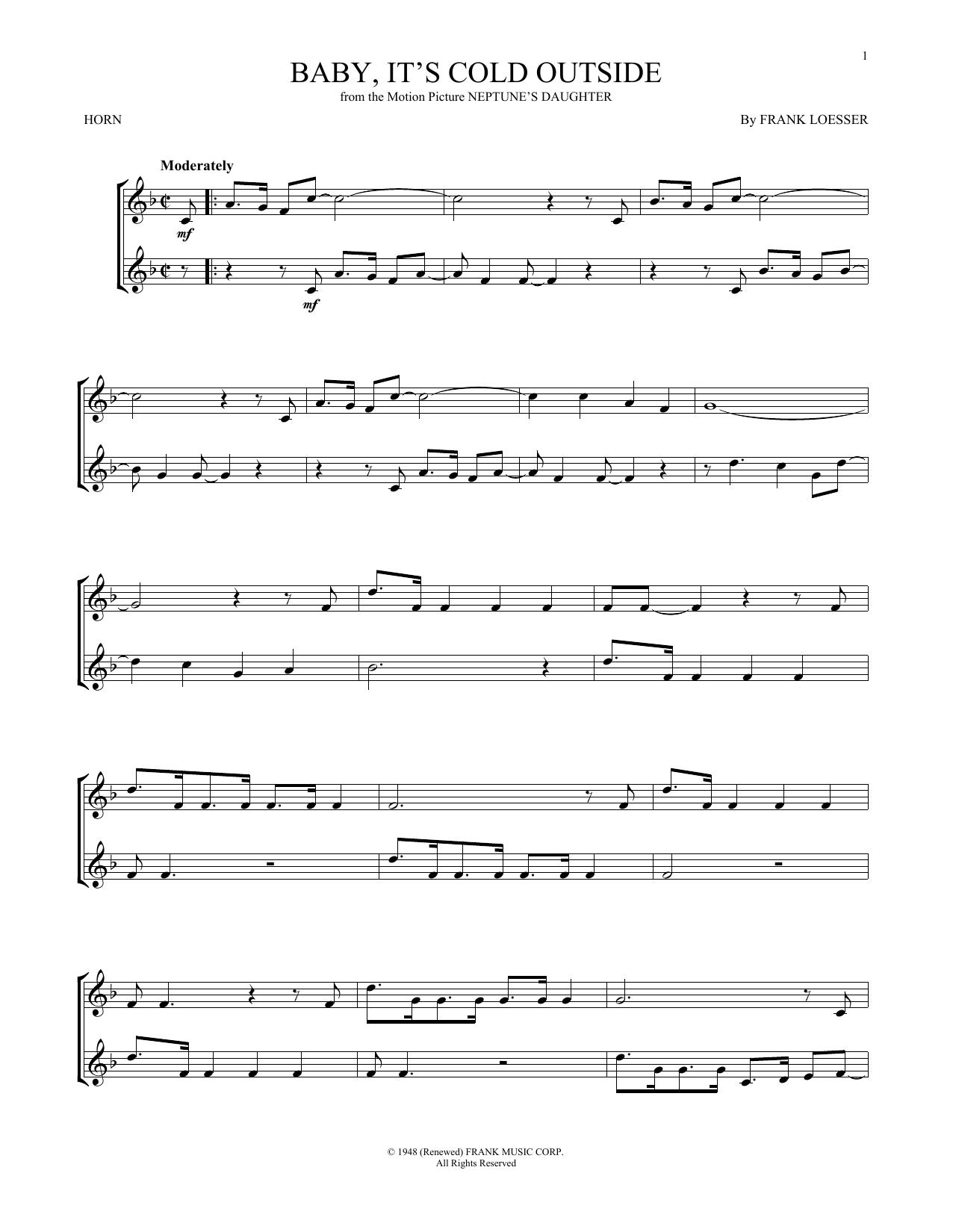 Partition autre Baby, It's Cold Outside de Frank Loesser - Cor
