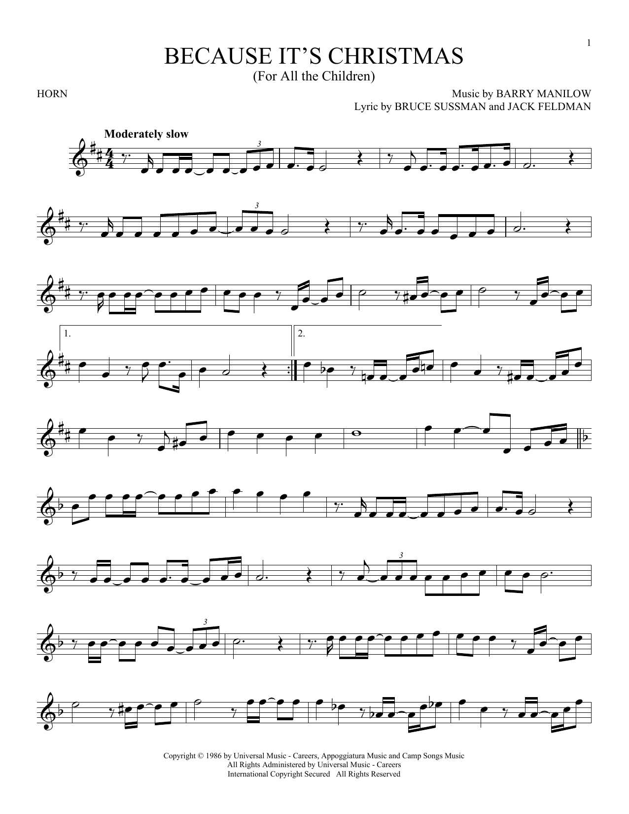 Because It's Christmas (For All The Children) (French Horn Solo)