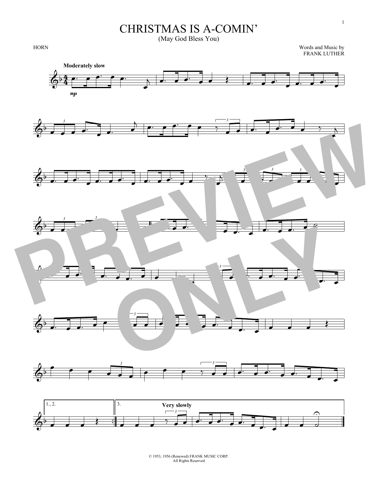 Christmas Is A-Comin' (May God Bless You) (French Horn Solo)