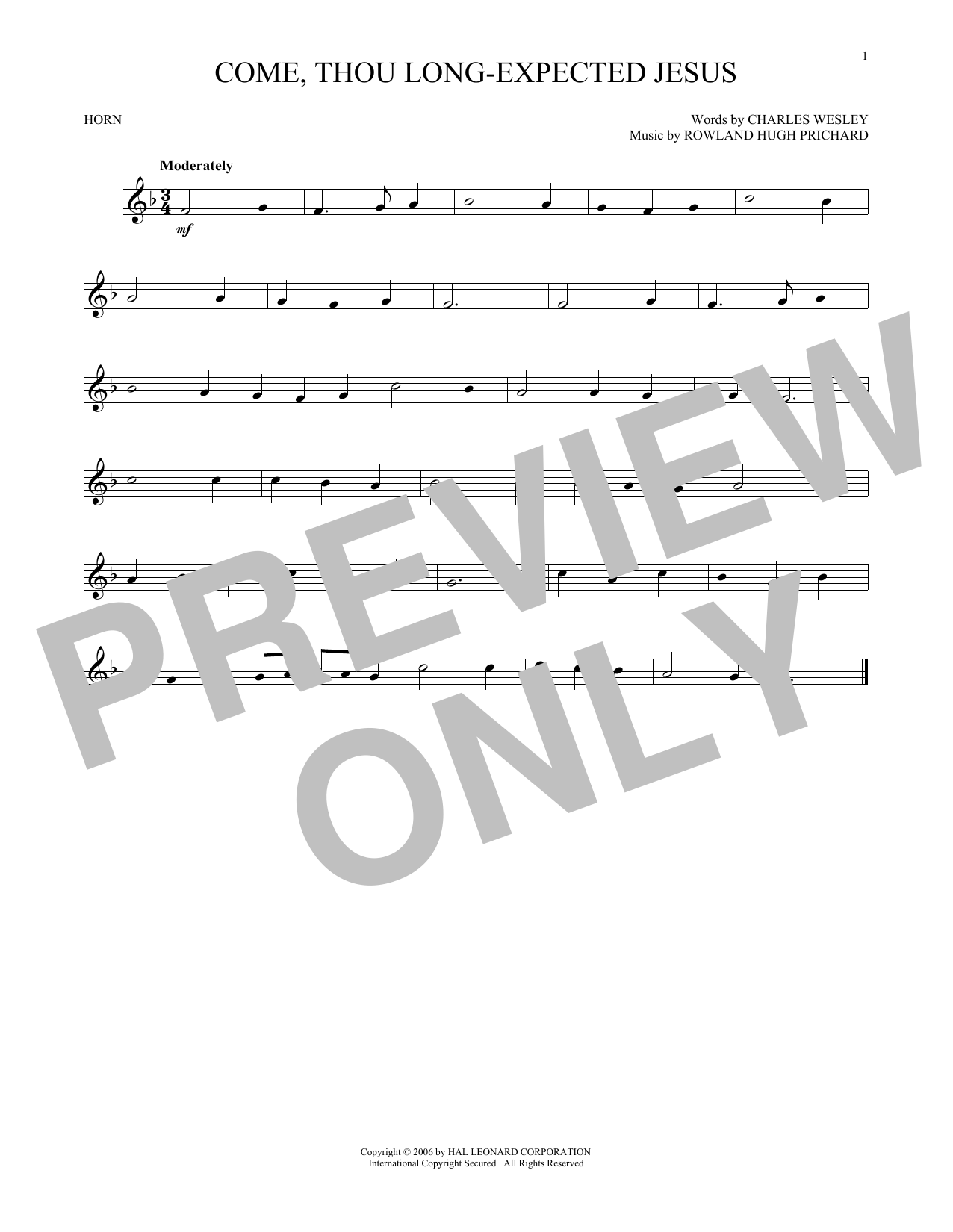 Come, Thou Long-Expected Jesus (French Horn Solo)