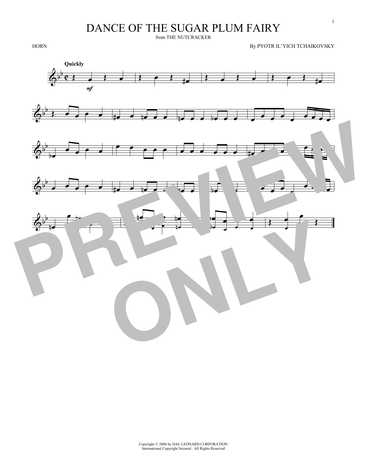 Dance Of The Sugar Plum Fairy, Op. 71a (French Horn Solo)