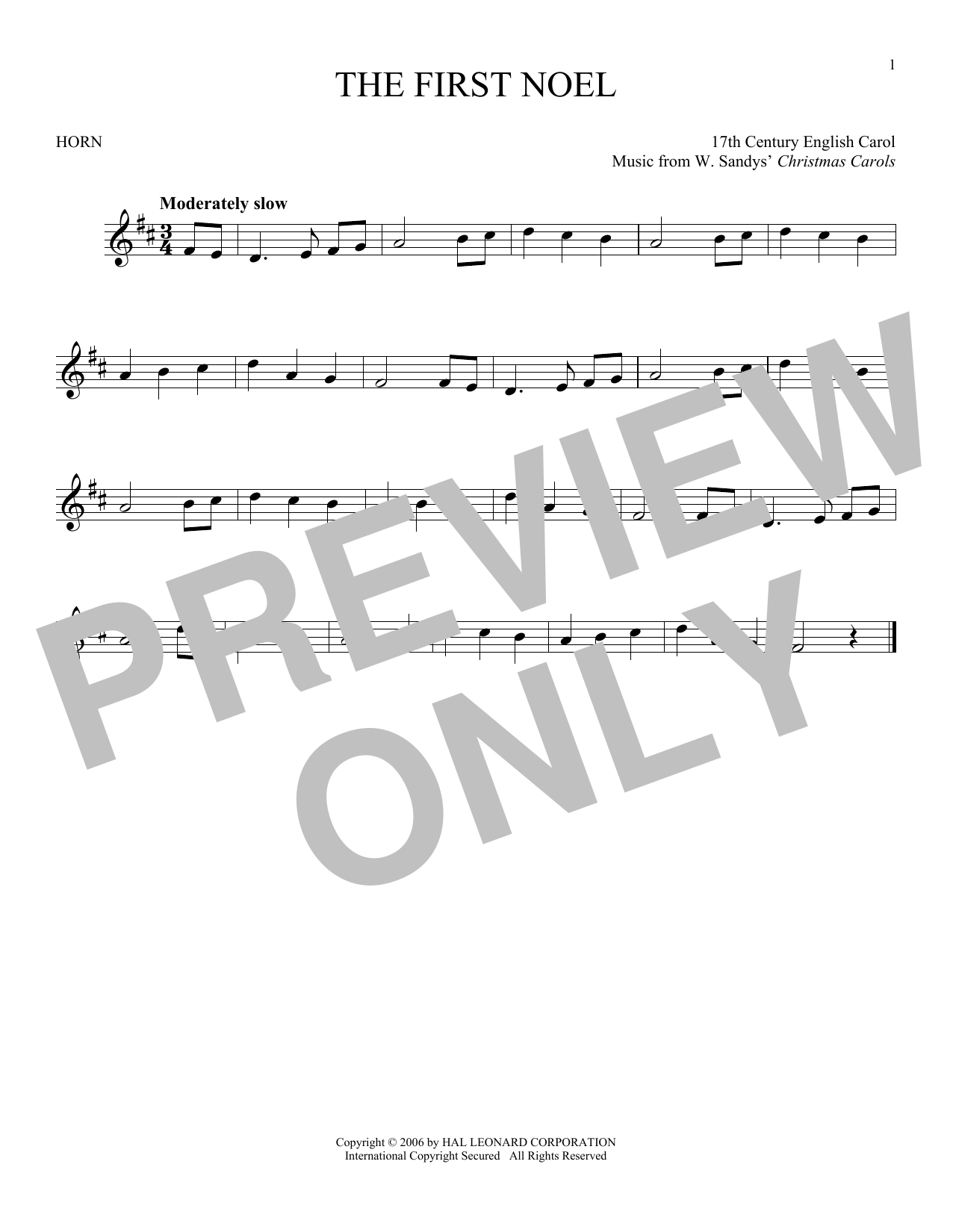 Christmas Carol Music.The First Noel By W Sandys Christmas Carols French Horn Solo Digital Sheet Music