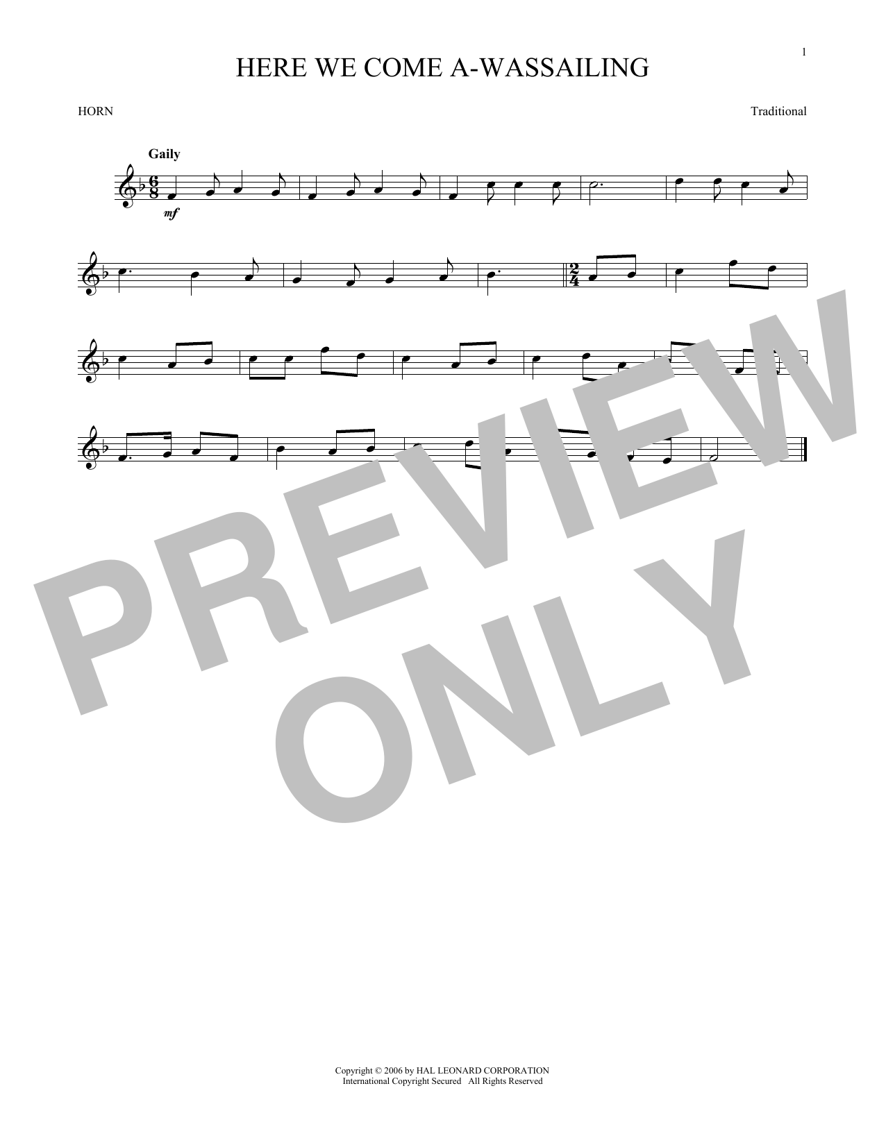 Here We Come A-Wassailing (French Horn Solo)
