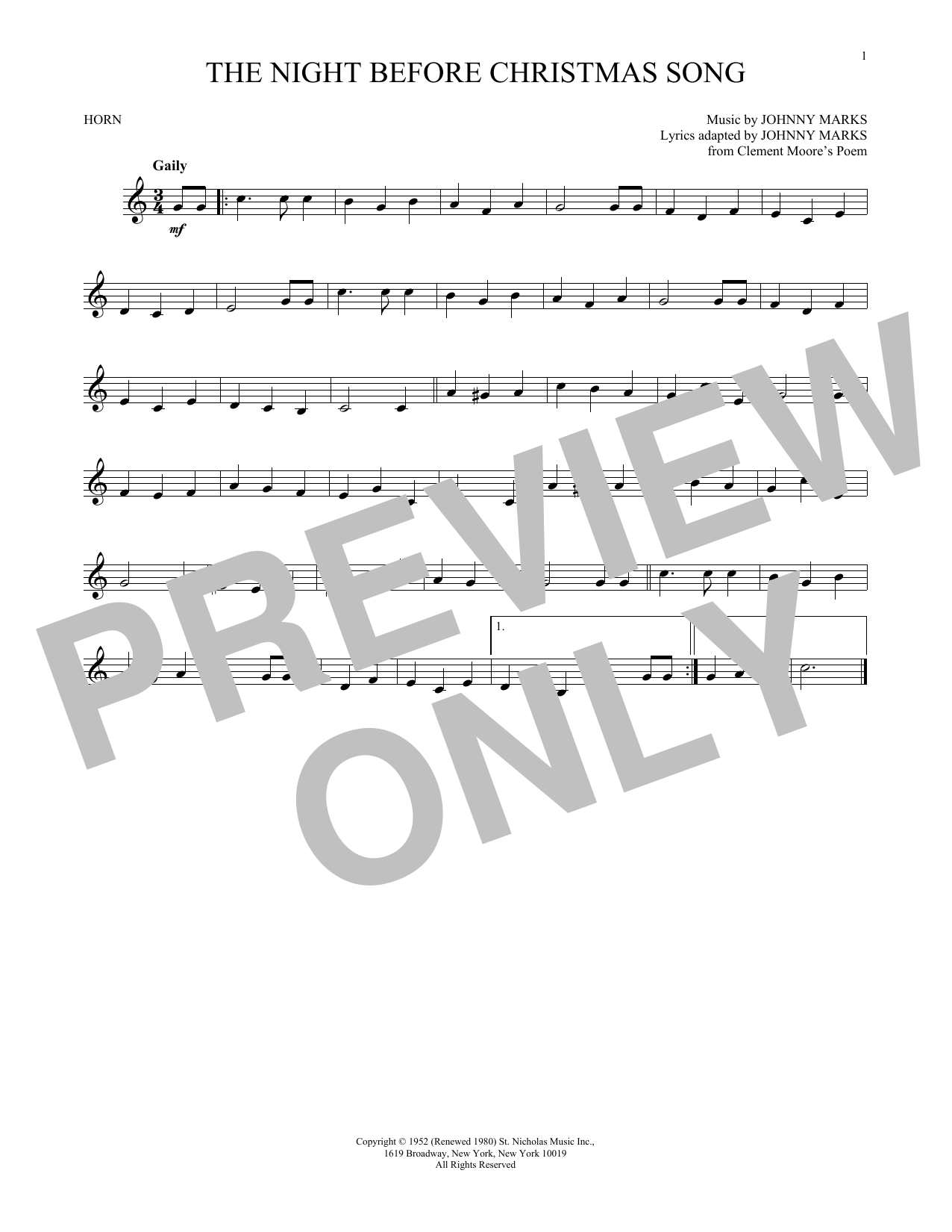 The Night Before Christmas Song (French Horn Solo)