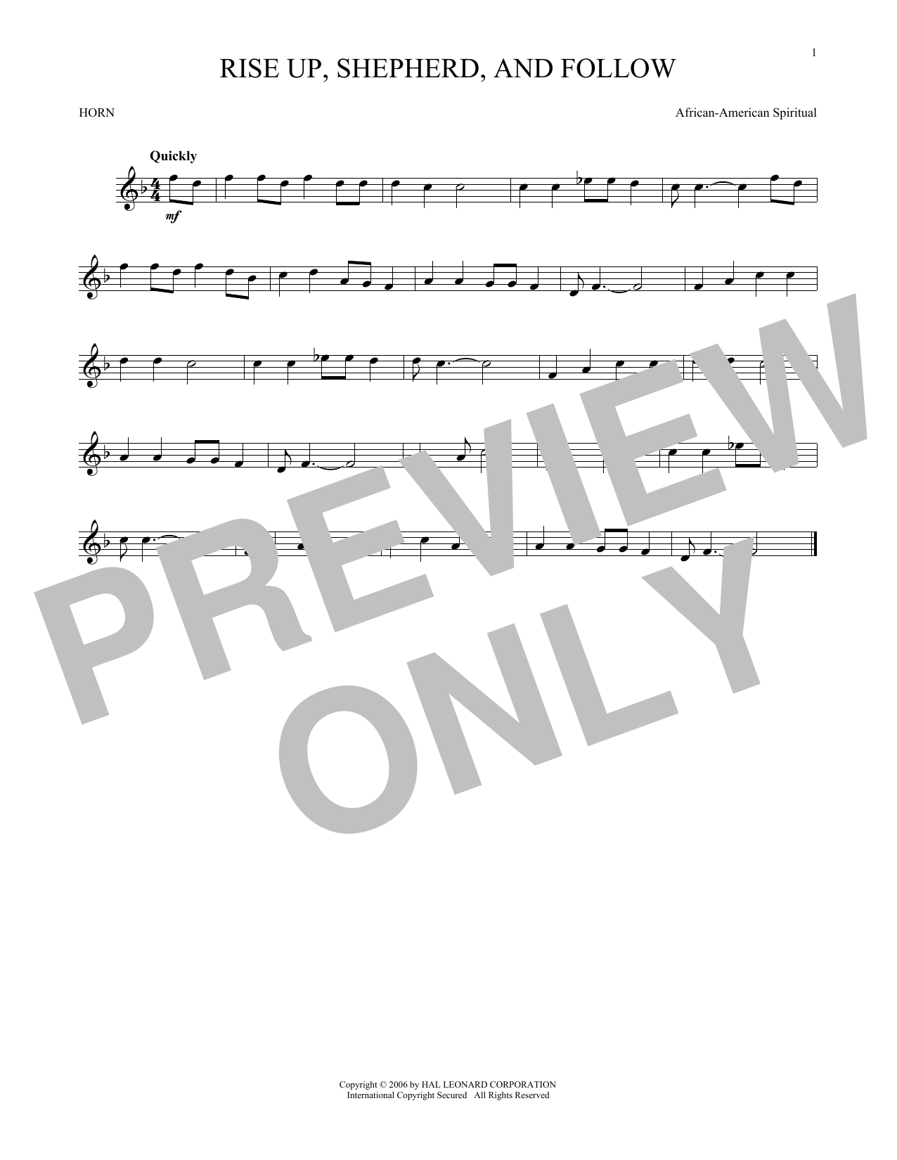 Rise Up, Shepherd, And Follow (French Horn Solo)