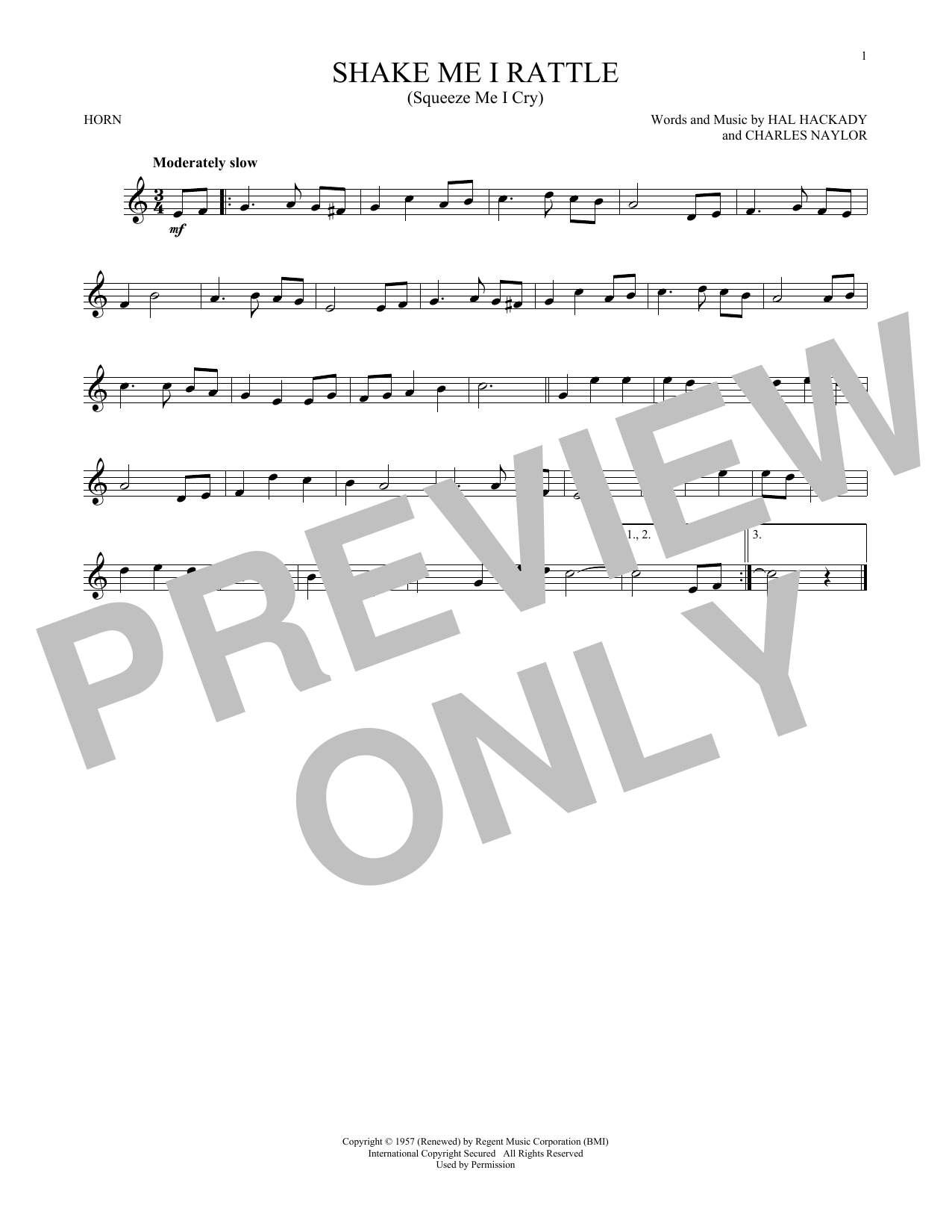 Shake Me I Rattle (Squeeze Me I Cry) (French Horn Solo)
