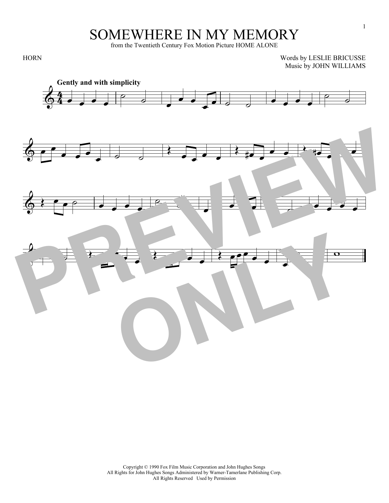 Partition autre Somewhere In My Memory de John Williams - Cor
