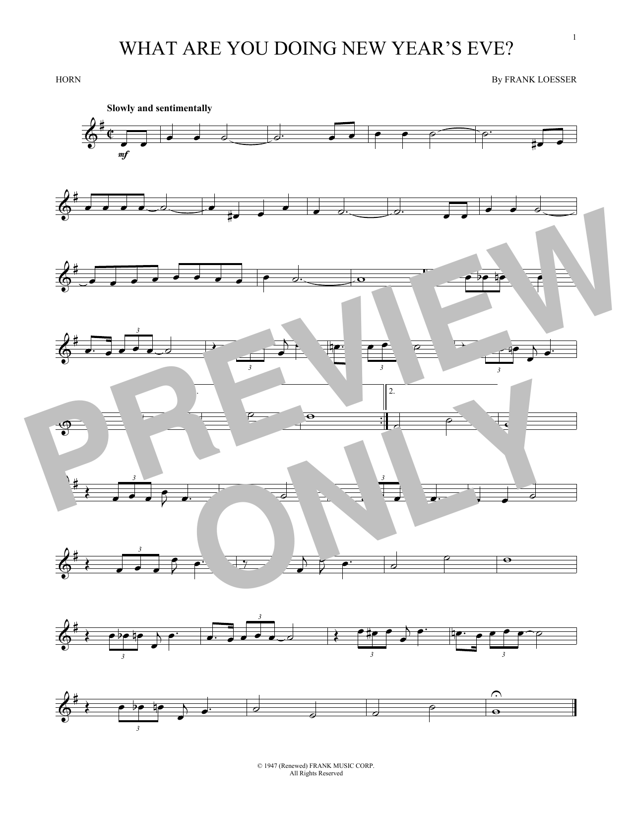 What Are You Doing New Year's Eve? (French Horn Solo)