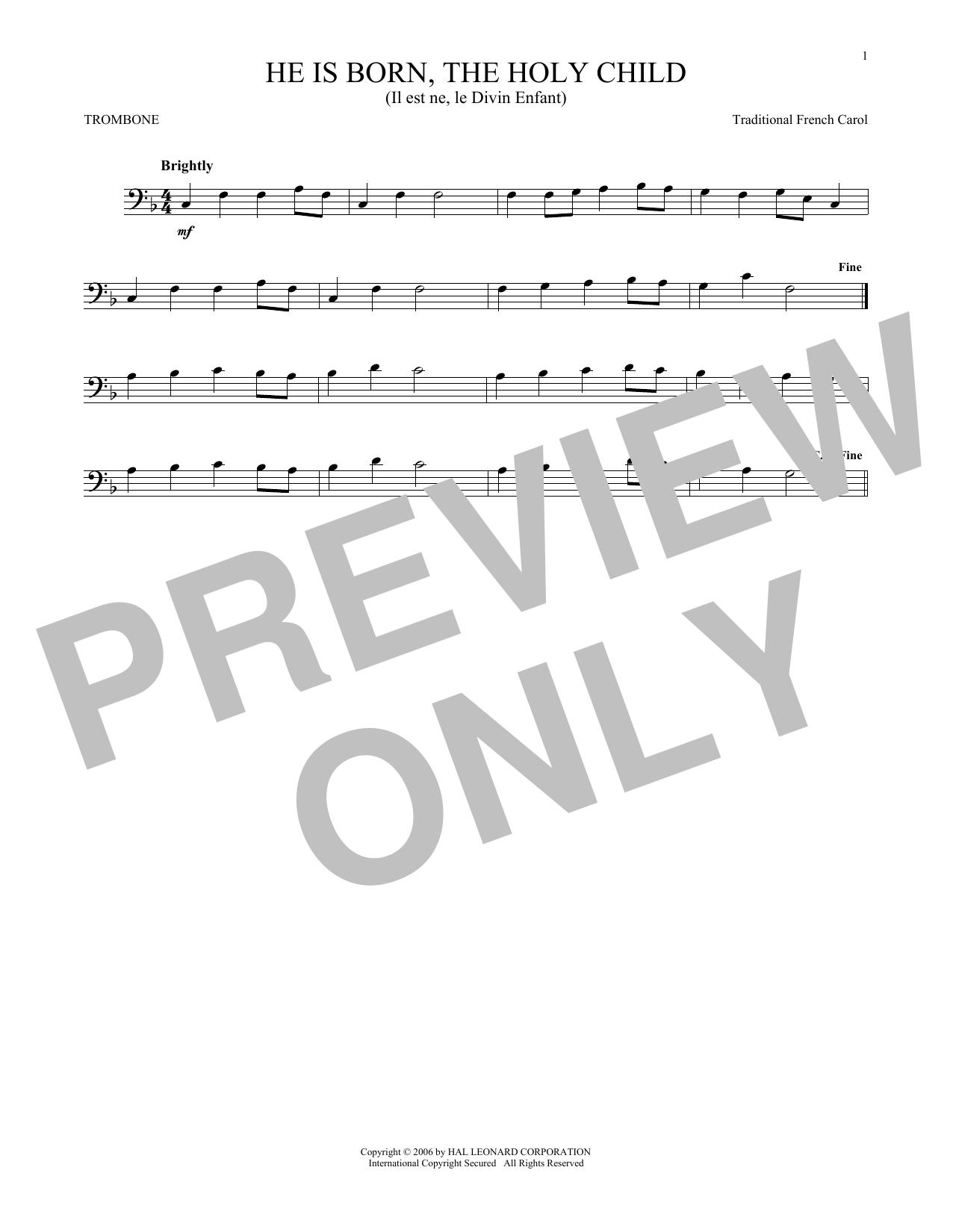 He Is Born, The Holy Child (Il Est Ne, Le Divin Enfant) (Trombone Solo)