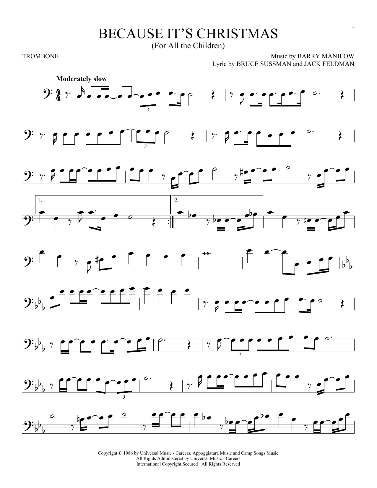Because It's Christmas (For All The Children) (Trombone Solo)