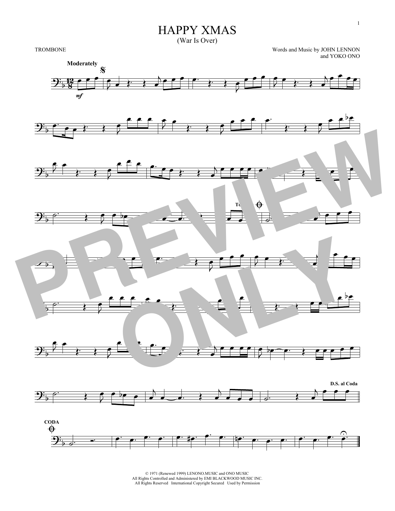 Happy Xmas (War Is Over) (Trombone Solo)
