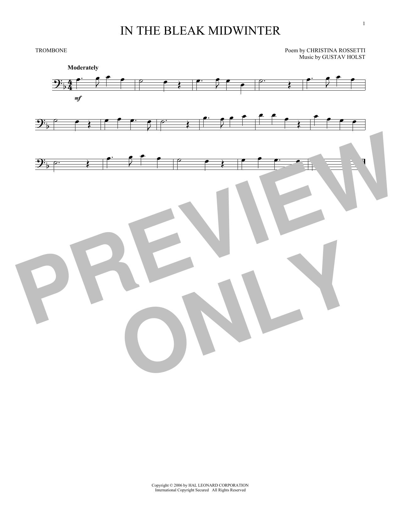 Partition autre In The Bleak Midwinter de Christina Rossetti - Trombone