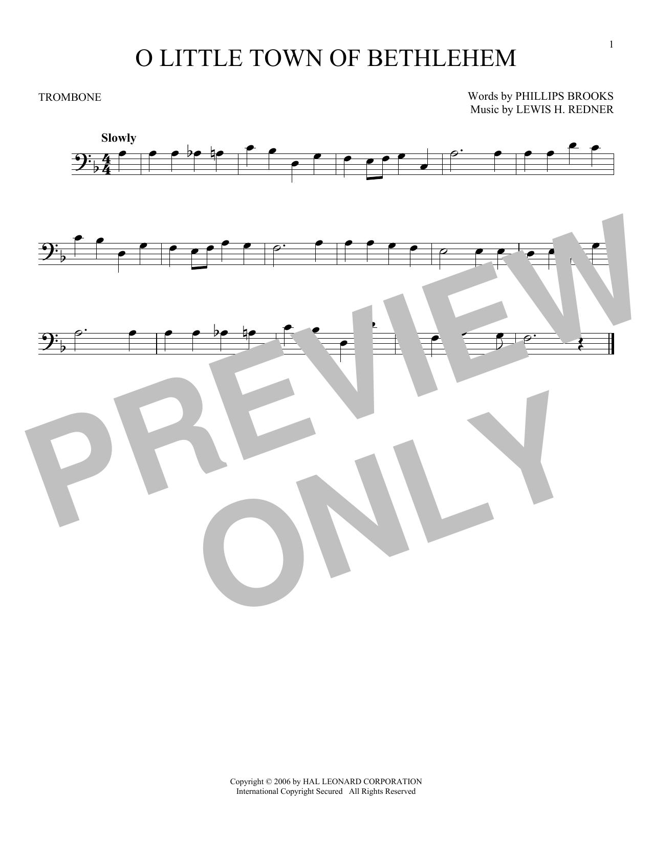 Partition autre O Little Town Of Bethlehem de Phillips Brooks - Trombone