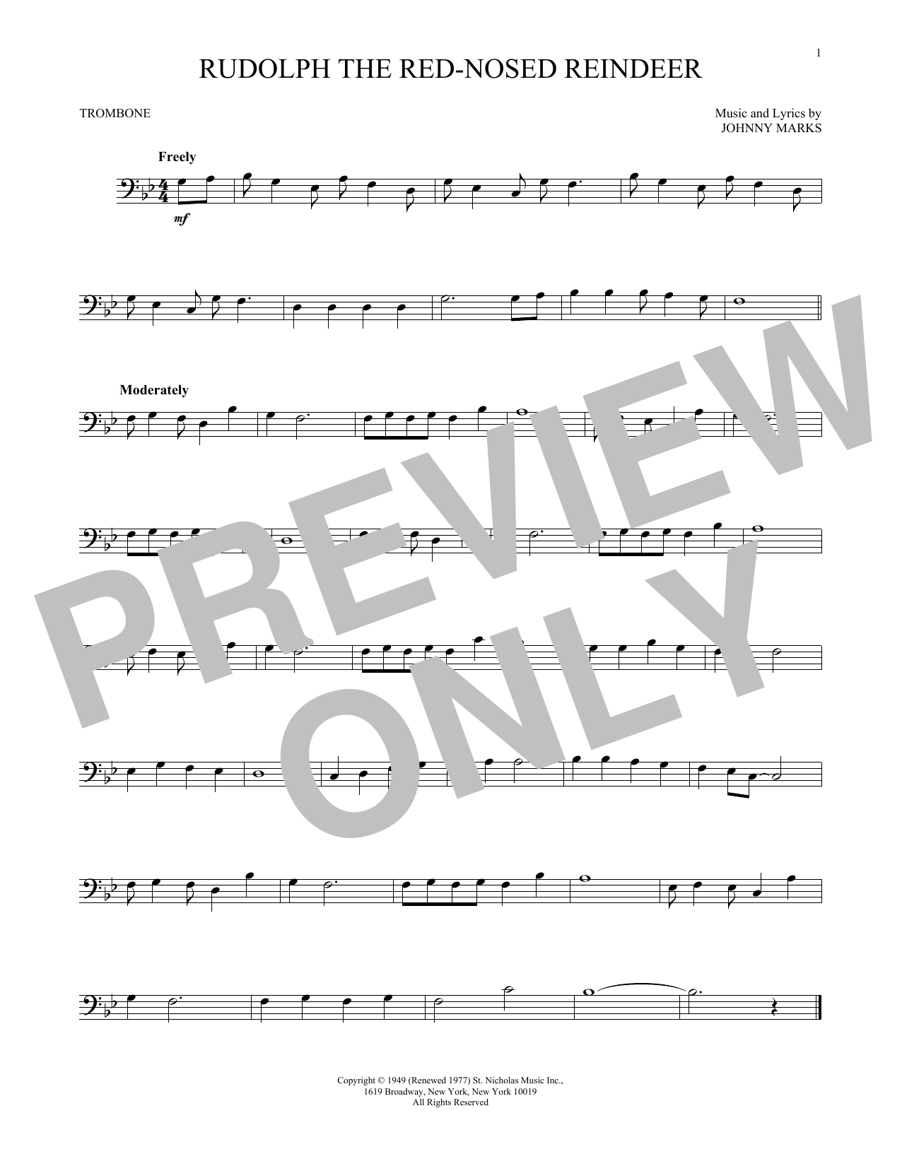 Partition autre Rudolph The Red-Nosed Reindeer de Johnny Marks - Trombone