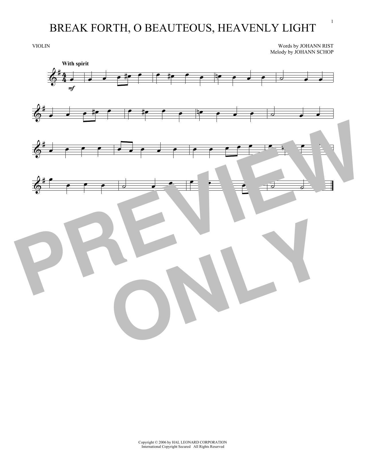 Break Forth, O Beauteous, Heavenly Light (Violin Solo)