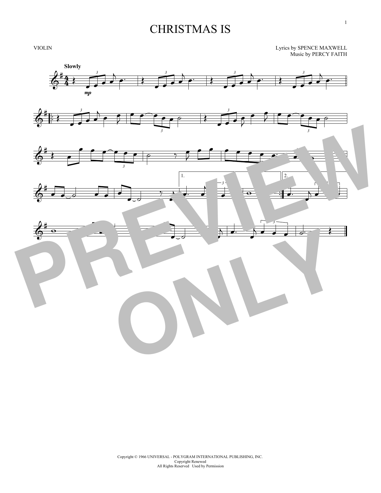 Christmas Is (Violin Solo)