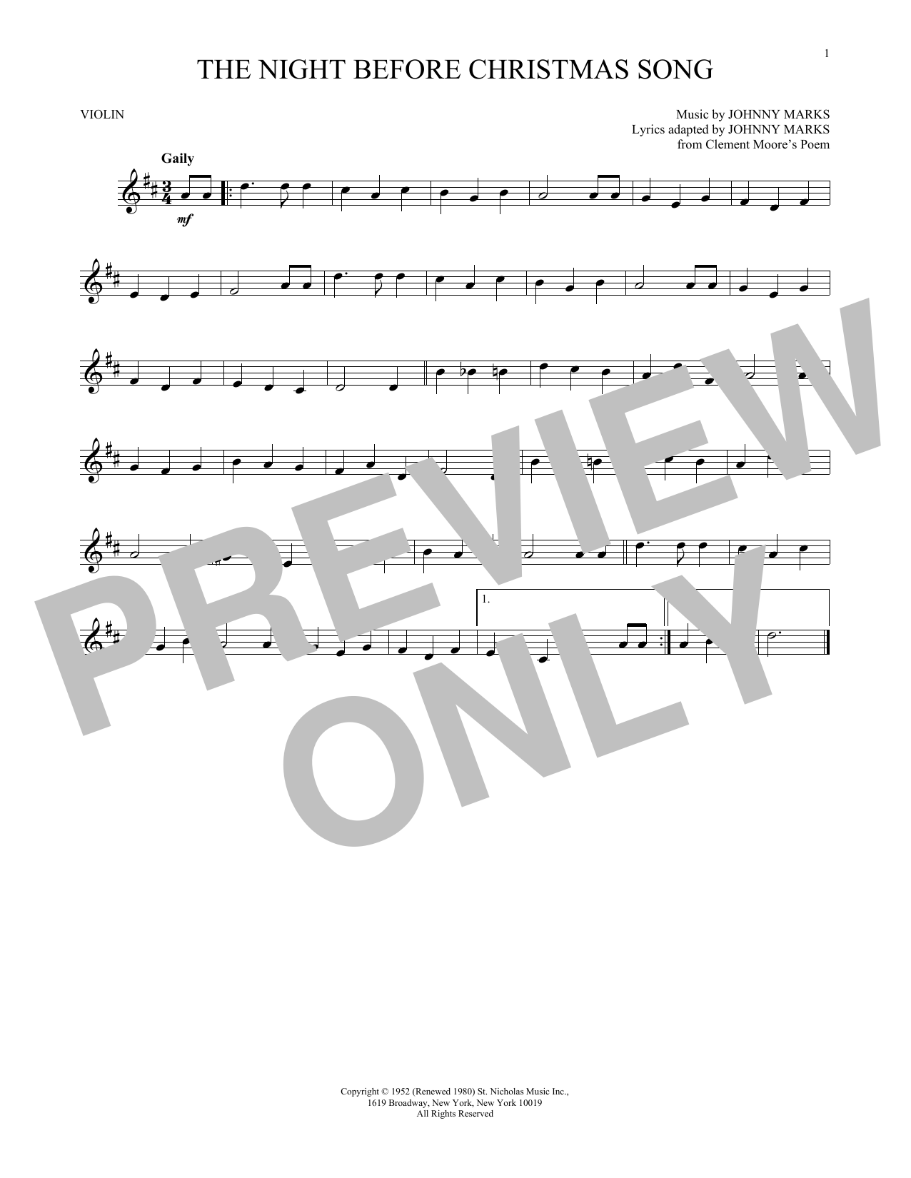 The Night Before Christmas Song (Violin Solo) - Print Sheet Music Now