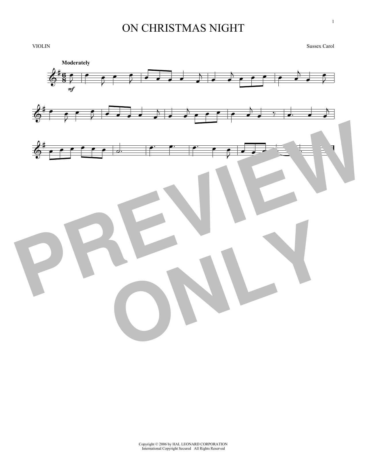 On Christmas Night Sheet Music