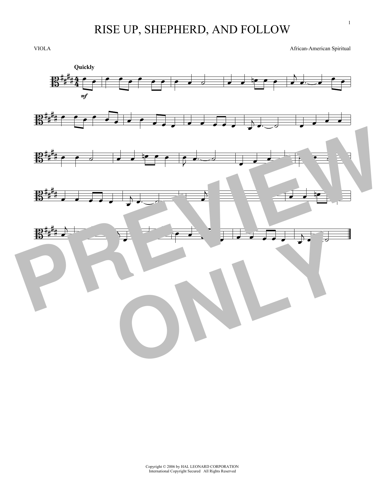 Rise Up, Shepherd, And Follow (Viola Solo)