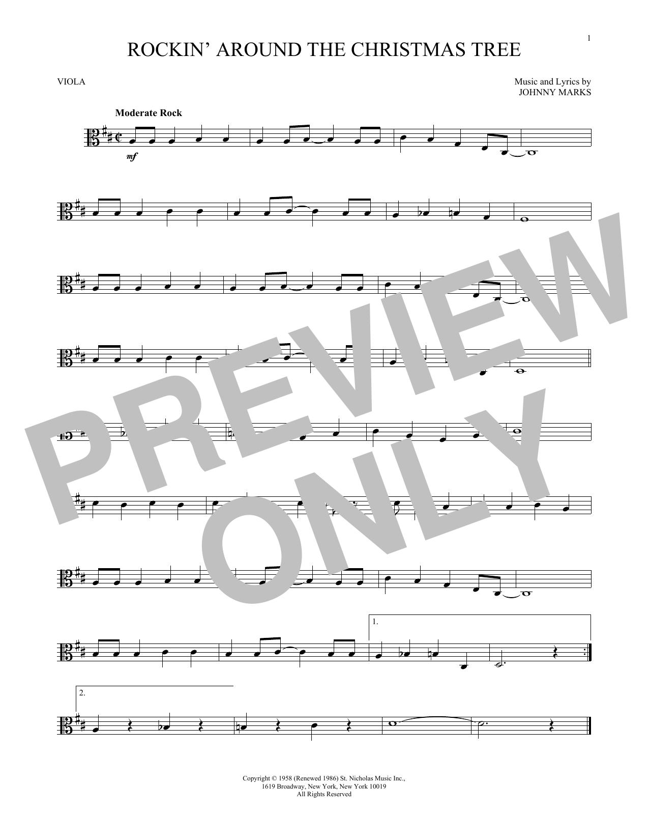 Rock Around The Christmas Tree.Rockin Around The Christmas Tree Viola Solo Print Sheet Music Now