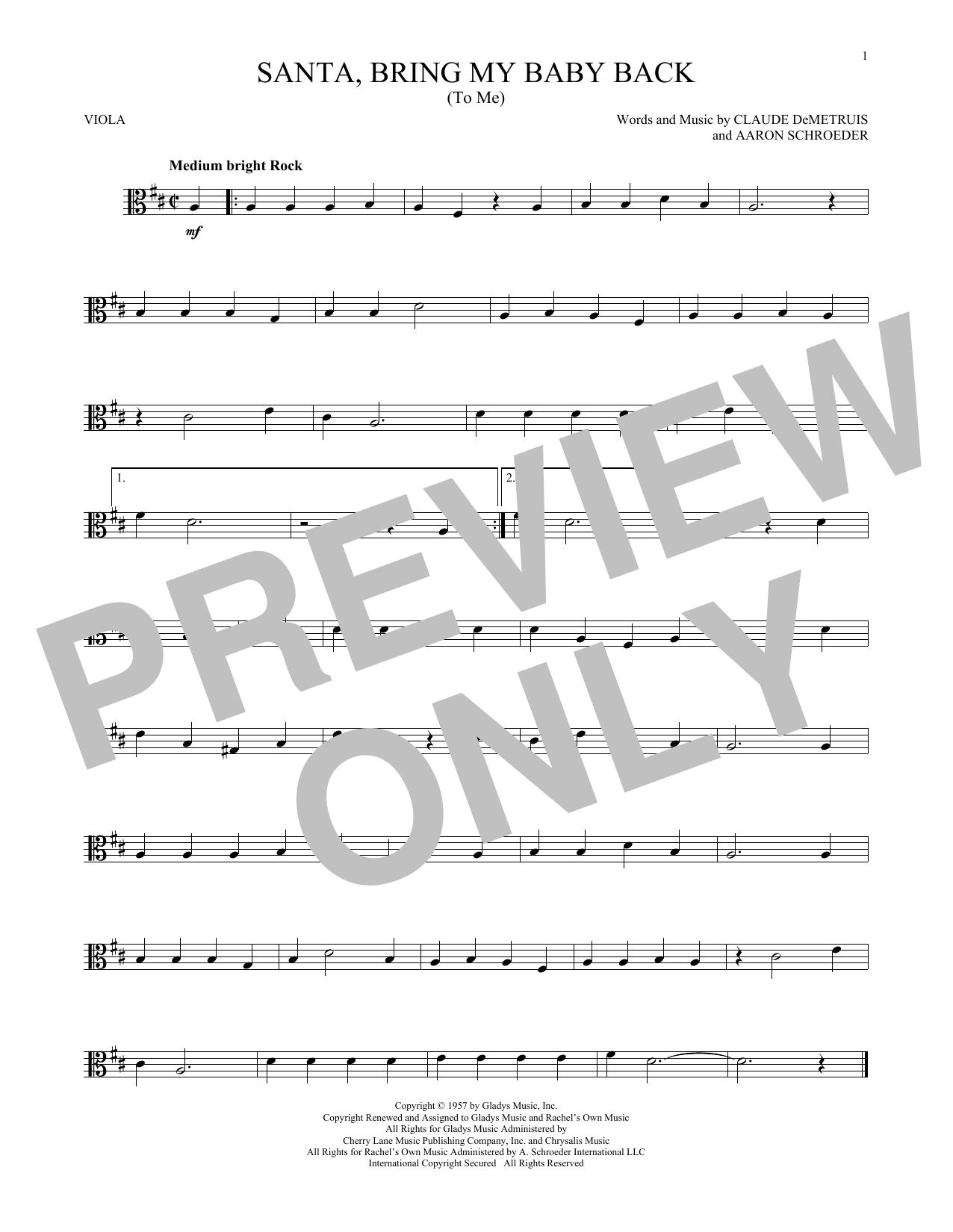 Santa, Bring My Baby Back (To Me) (Viola Solo)