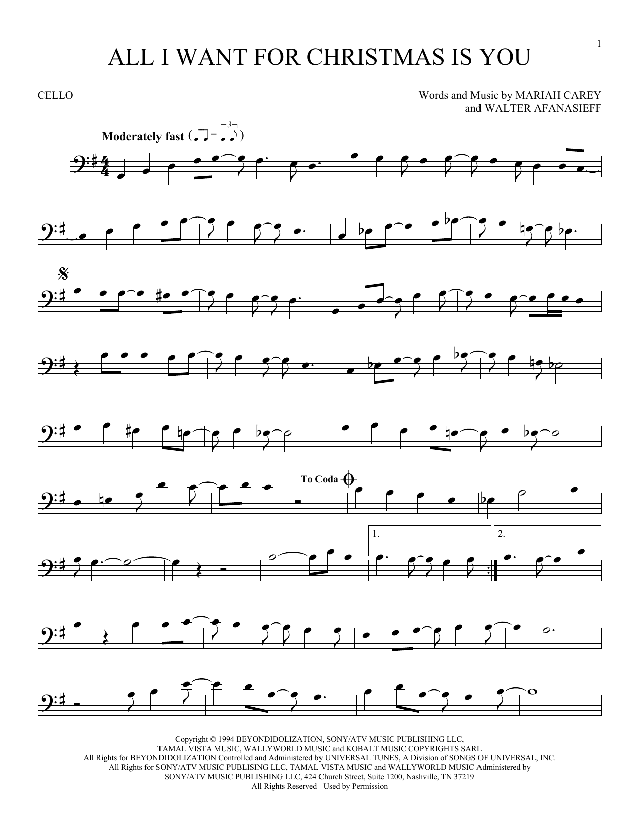 All I Want For Christmas Is You Sheet Music