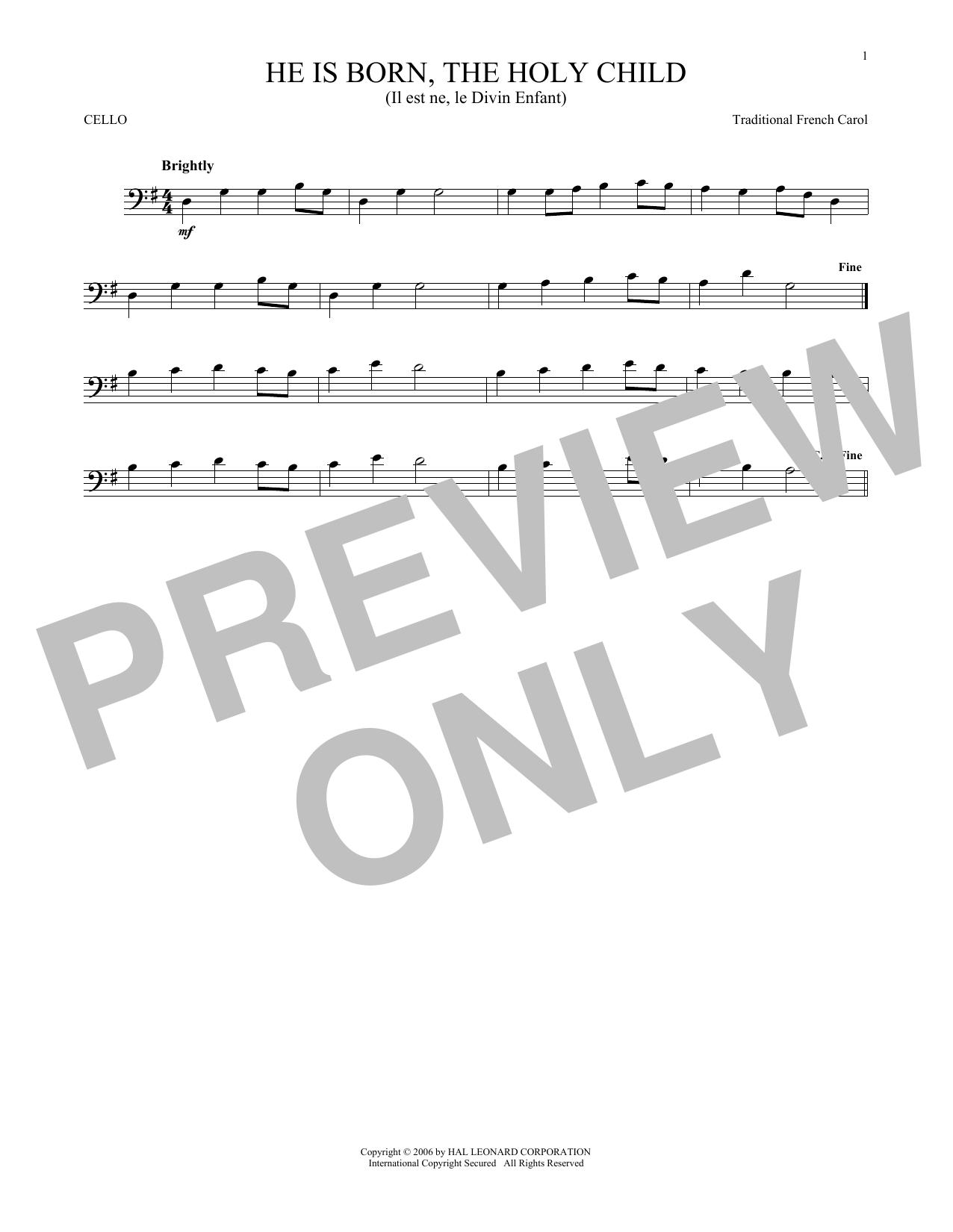 He Is Born, The Holy Child (Il Est Ne, Le Divin Enfant) (Cello Solo)