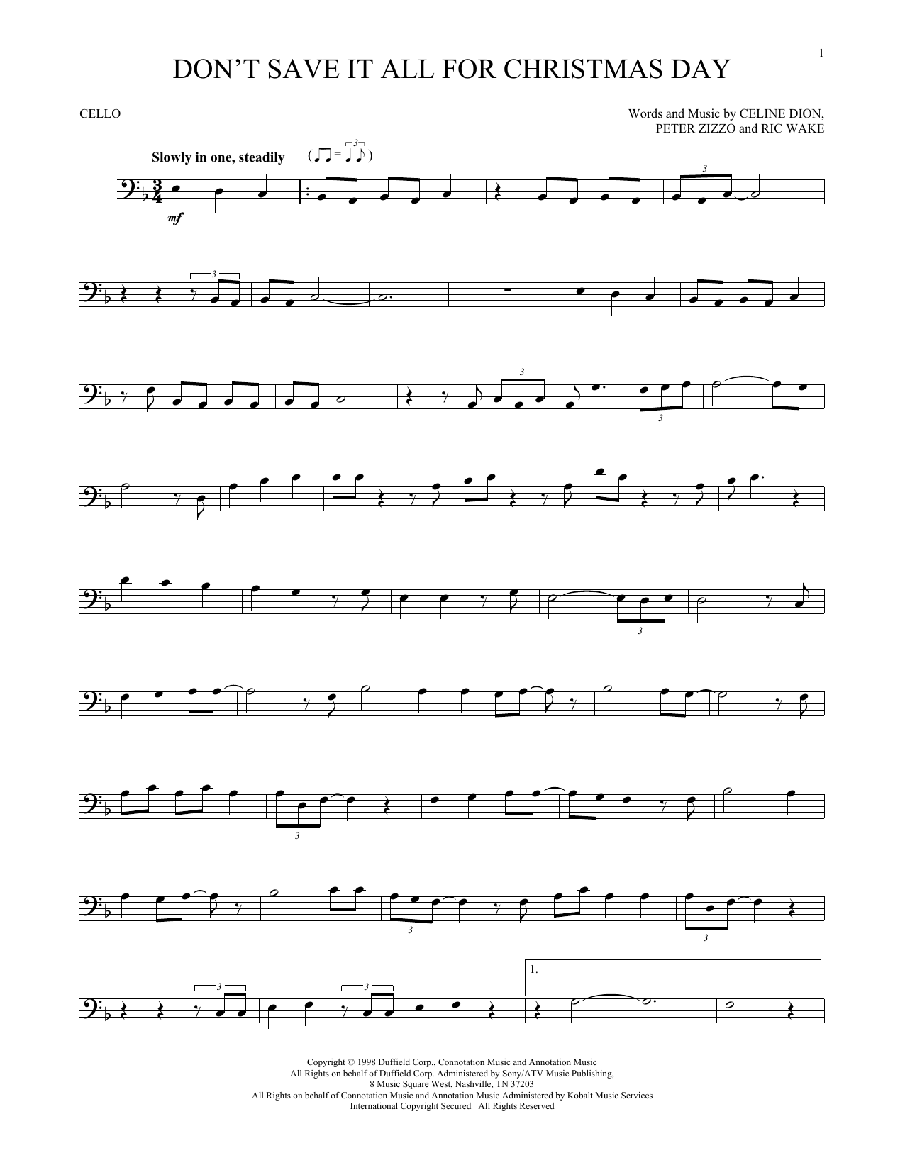 Don't Save It All For Christmas Day (Cello Solo)