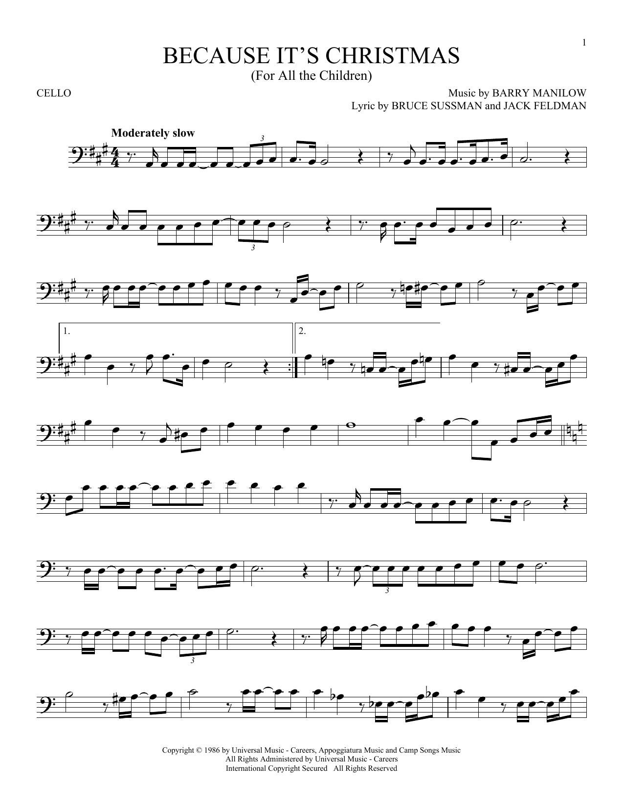 Because It's Christmas (For All The Children) (Cello Solo)