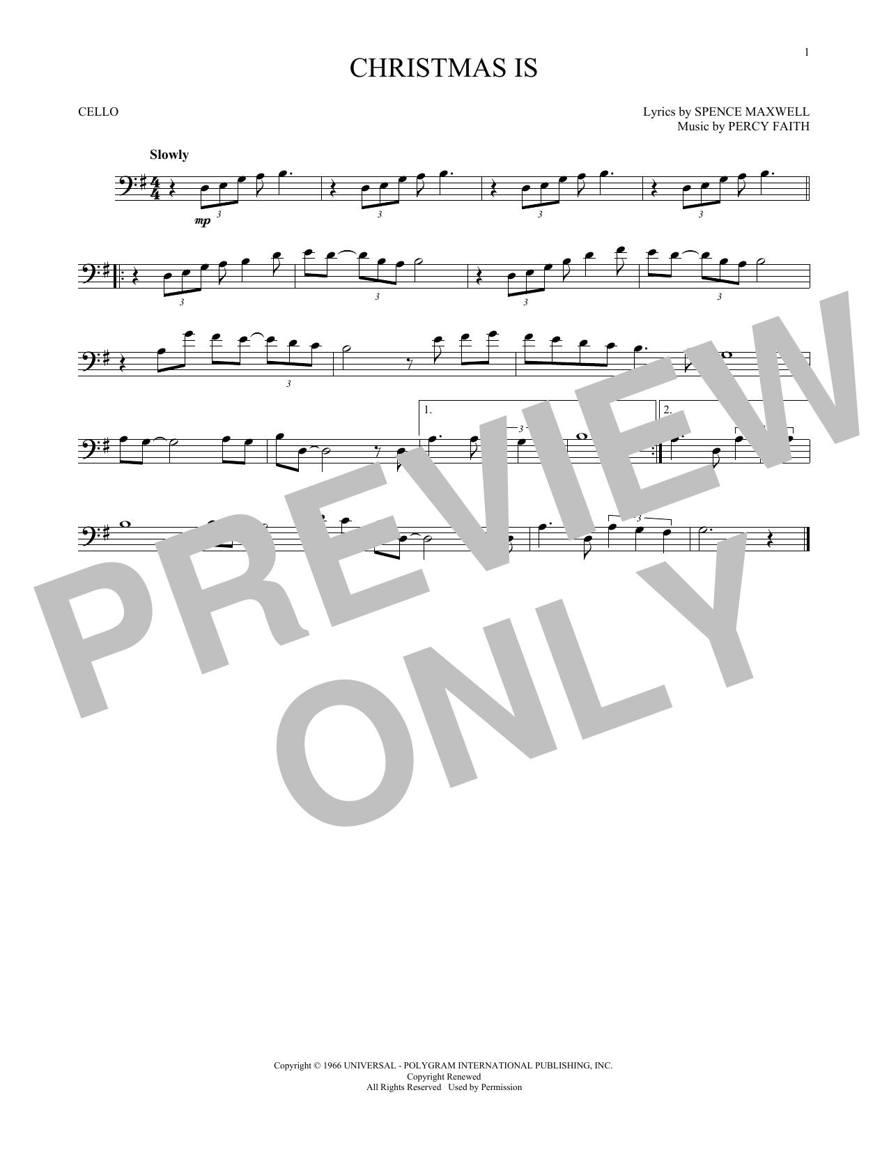 Christmas Is (Cello Solo)