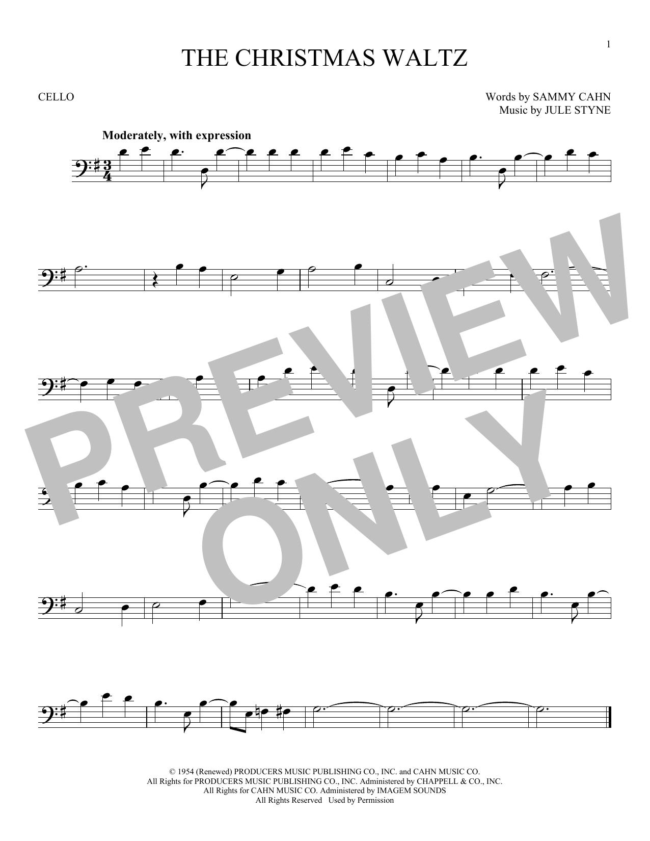 Partition autre The Christmas Waltz de Frank Sinatra - Violoncelle