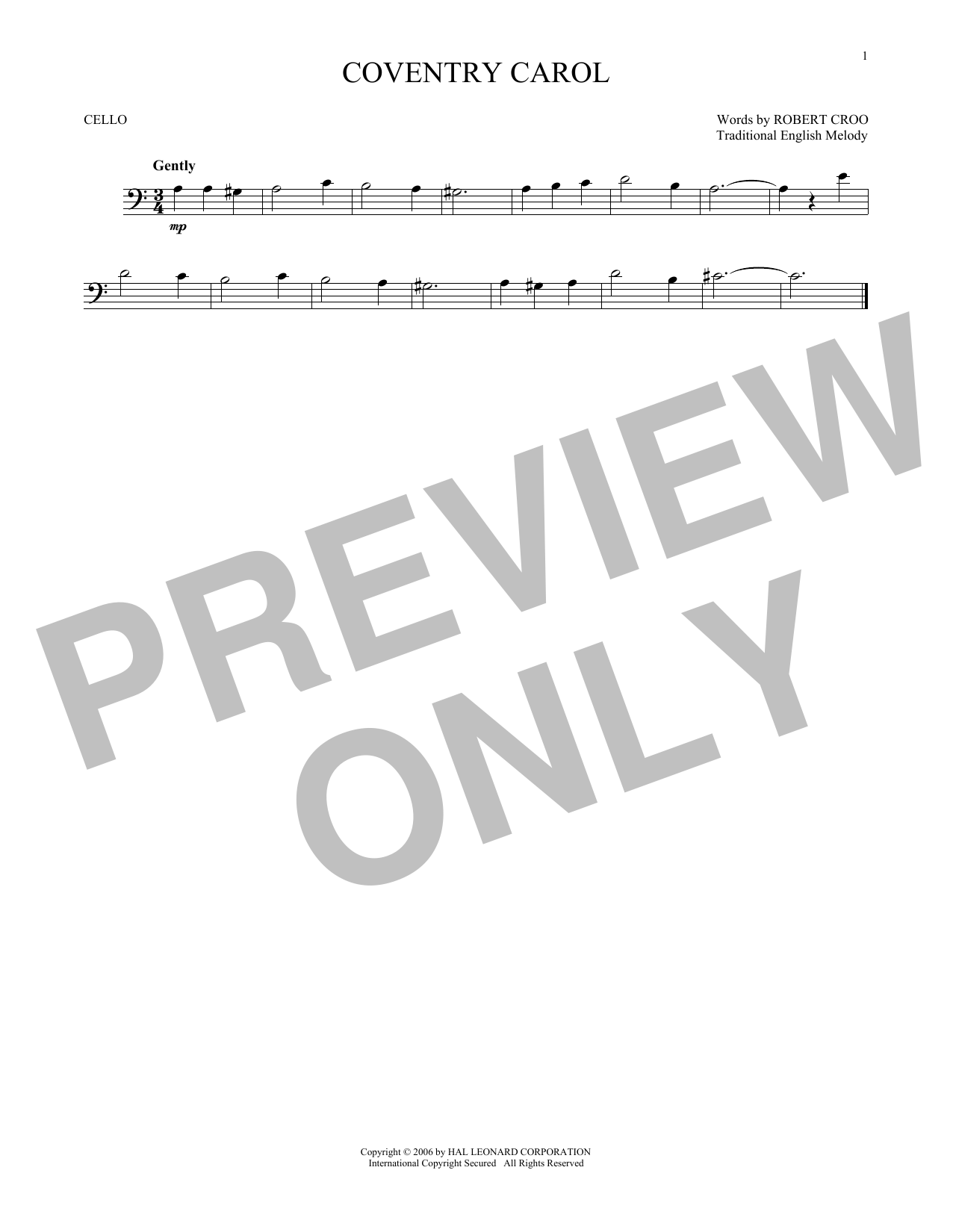 Partition autre Coventry Carol de Christmas Carol - Violoncelle