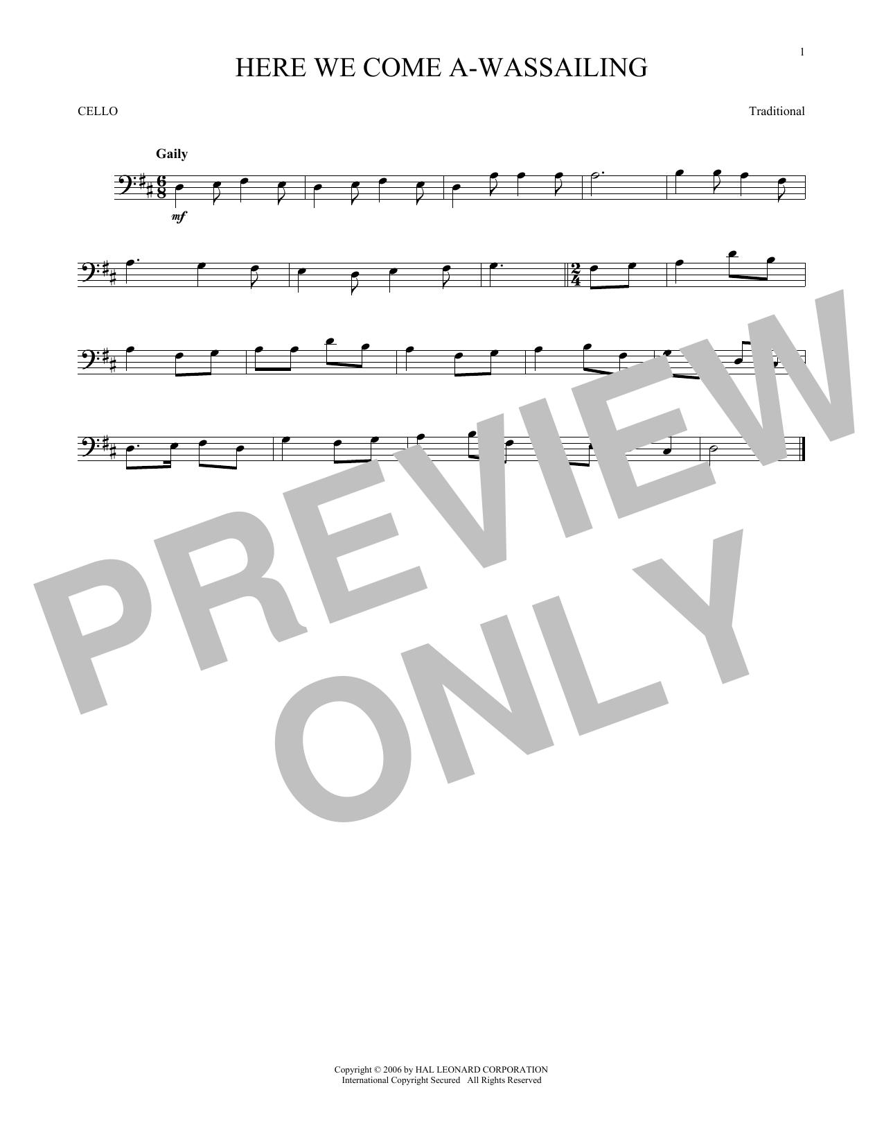 Here We Come A-Wassailing (Cello Solo)