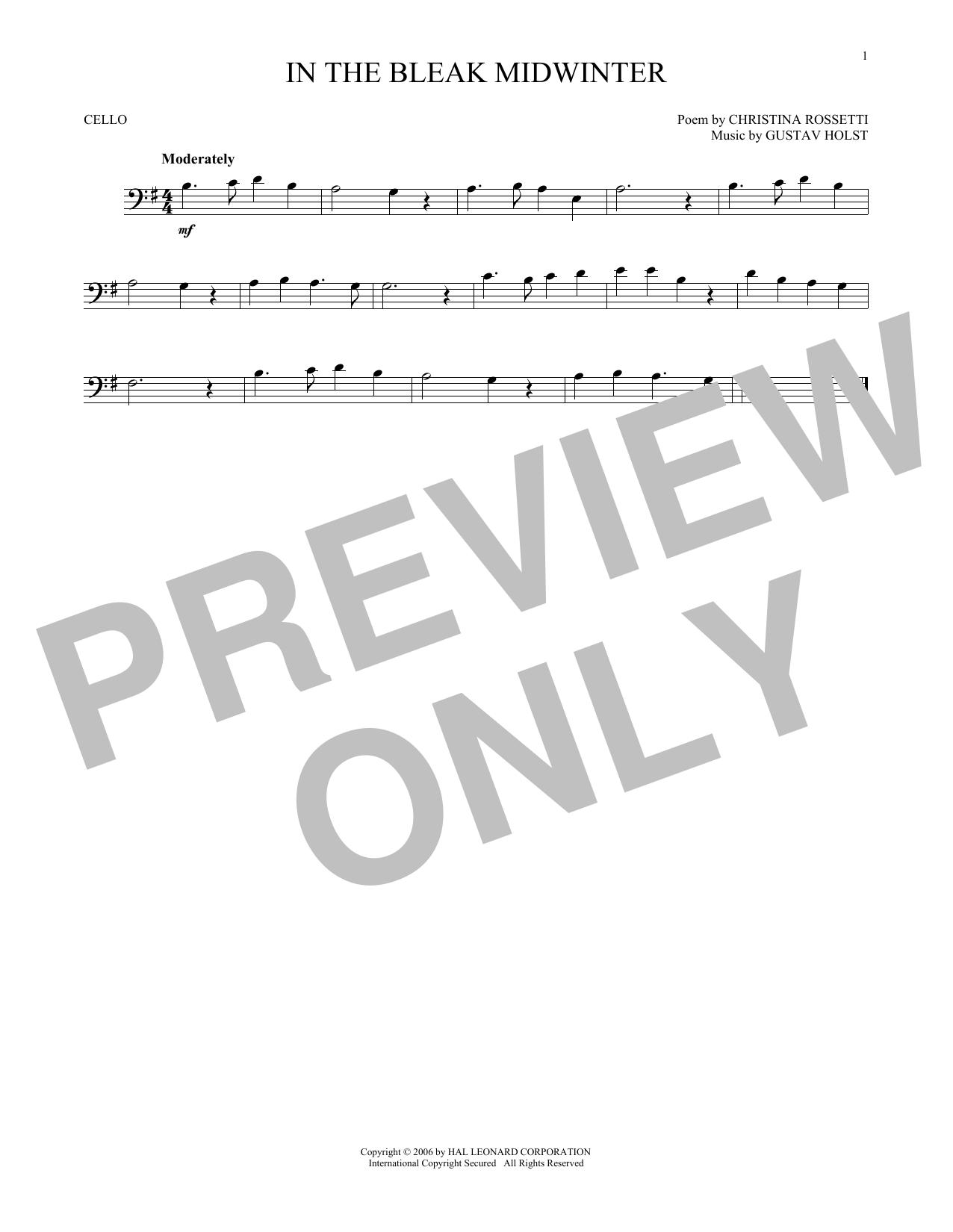 Partition autre In The Bleak Midwinter de Christina Rossetti - Violoncelle