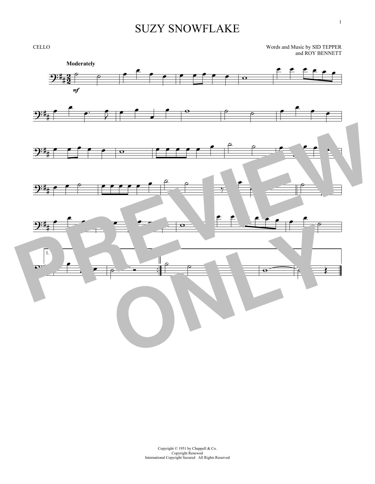 Partition autre Suzy Snowflake de Sid Tepper and Roy Bennett - Violoncelle
