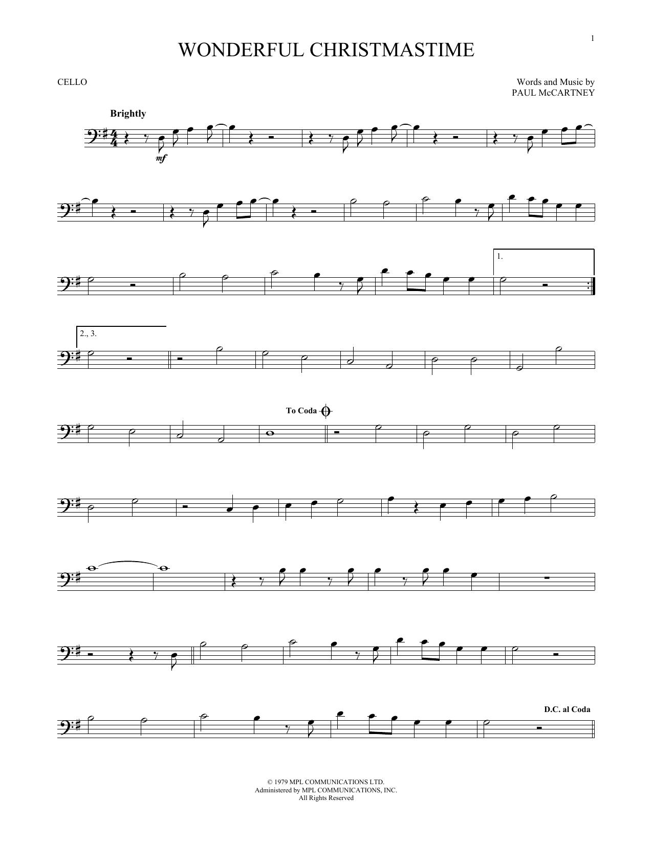 Wonderful Christmastime (Cello Solo)