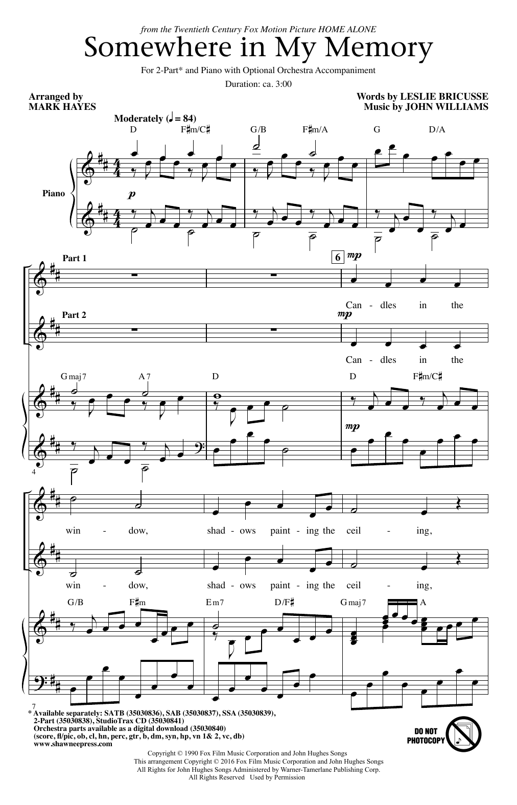 Somewhere In My Memory (arr. Mark Hayes) Sheet Music