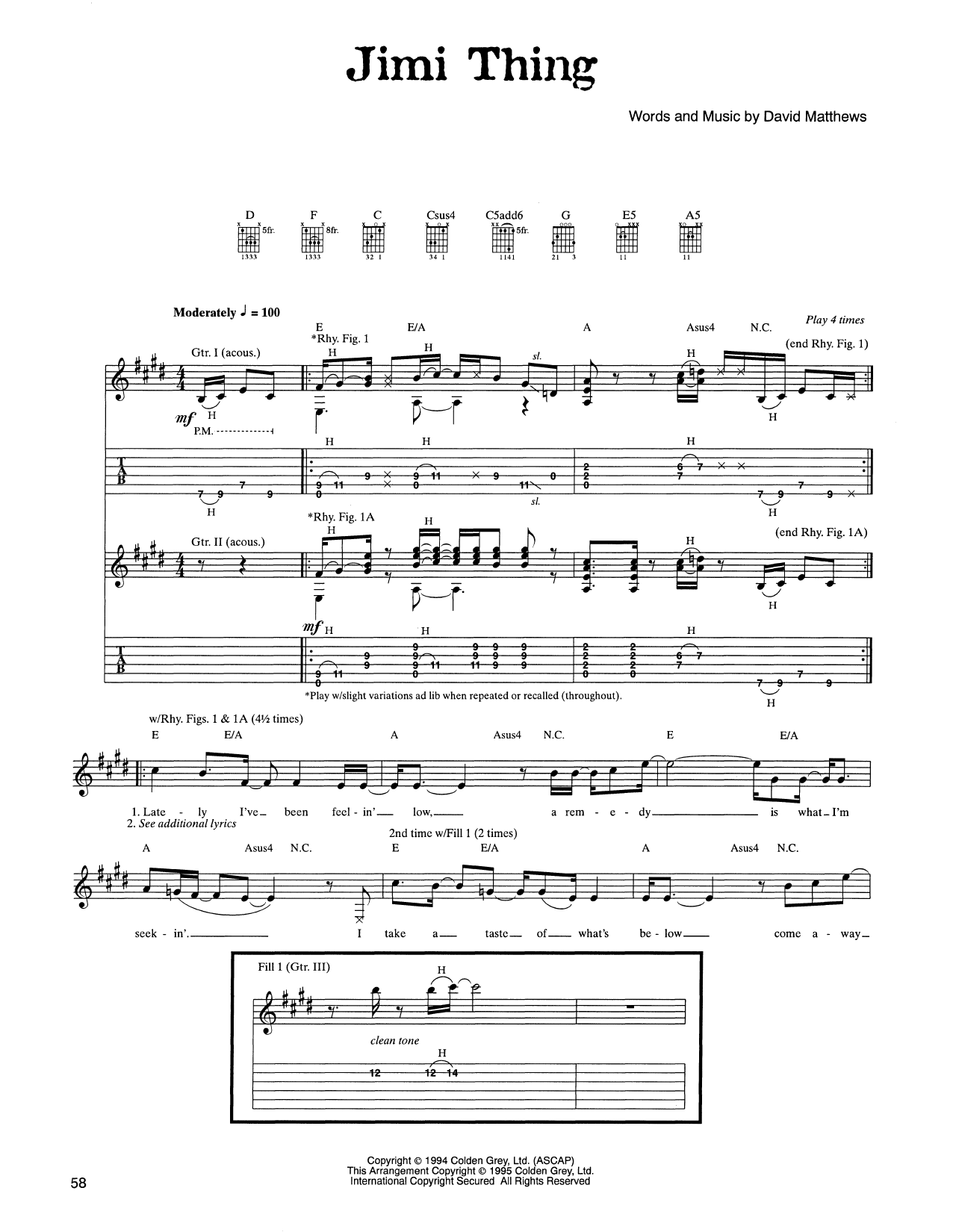 Tablature guitare Jimi Thing de Dave Matthews Band - Tablature Guitare