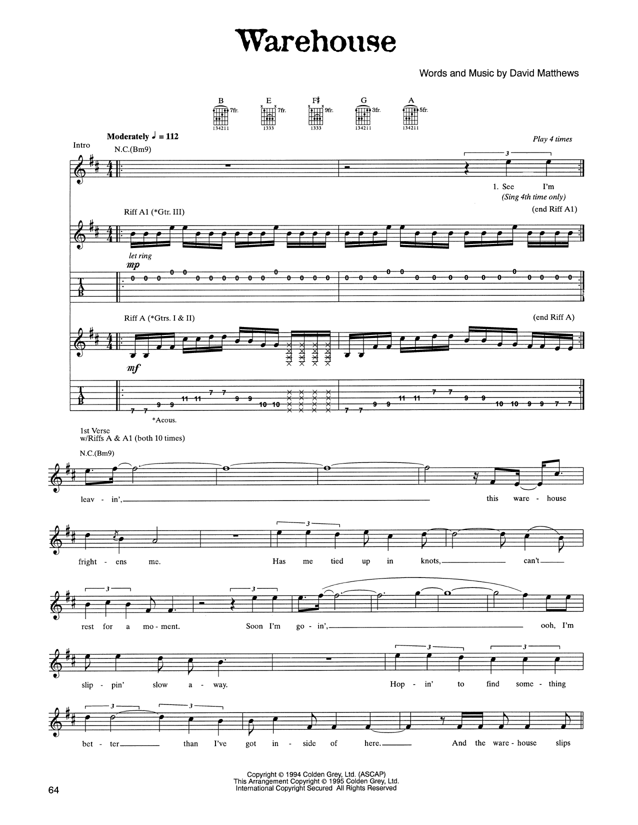 Tablature guitare Warehouse de Dave Matthews Band - Tablature Guitare