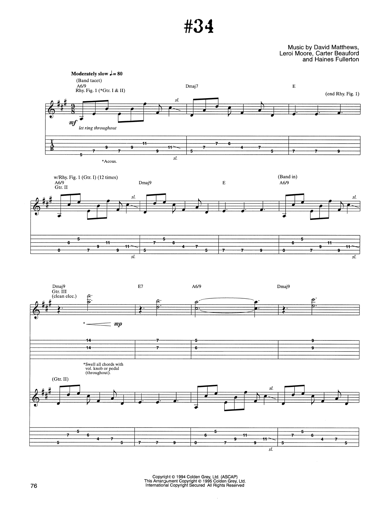 Tablature guitare #34 de Dave Matthews Band - Tablature Guitare