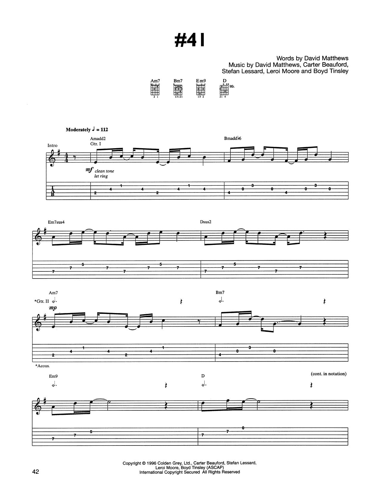 Tablature guitare #41 de Dave Matthews Band - Tablature Guitare