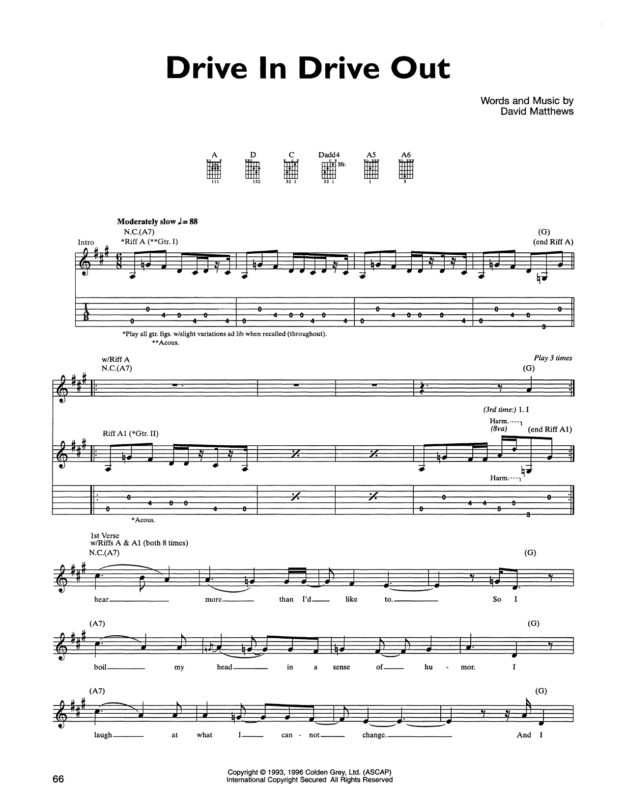 Drive In Drive Out Sheet Music