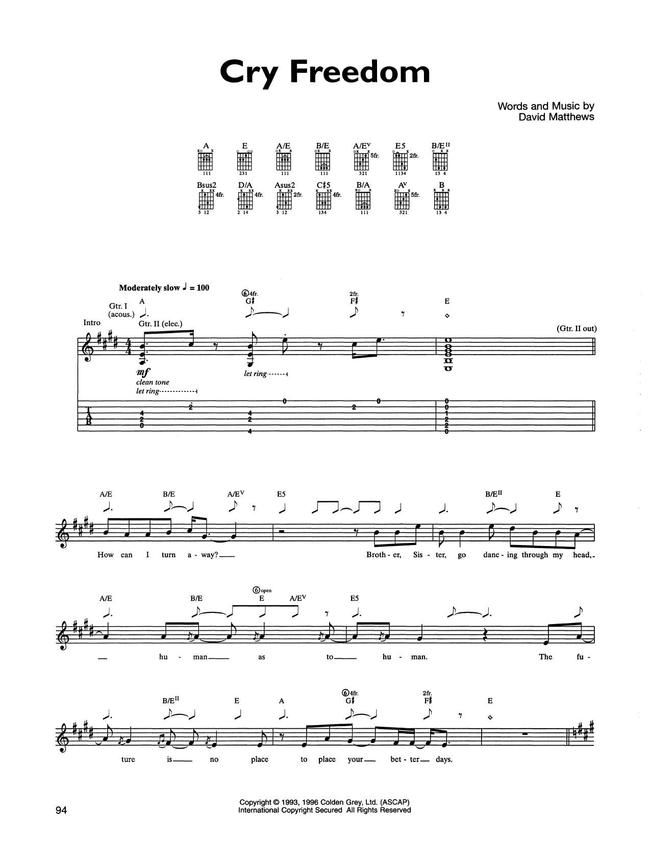 Cry Freedom Sheet Music Dave Matthews Band Guitar Tab