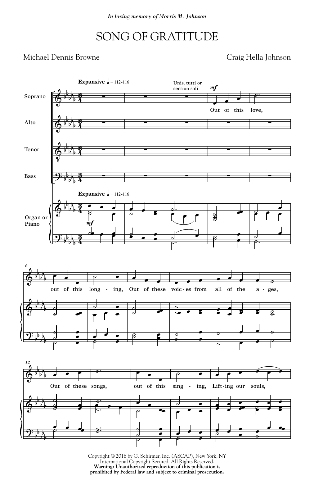 Song Of Gratitude (SATB Choir)