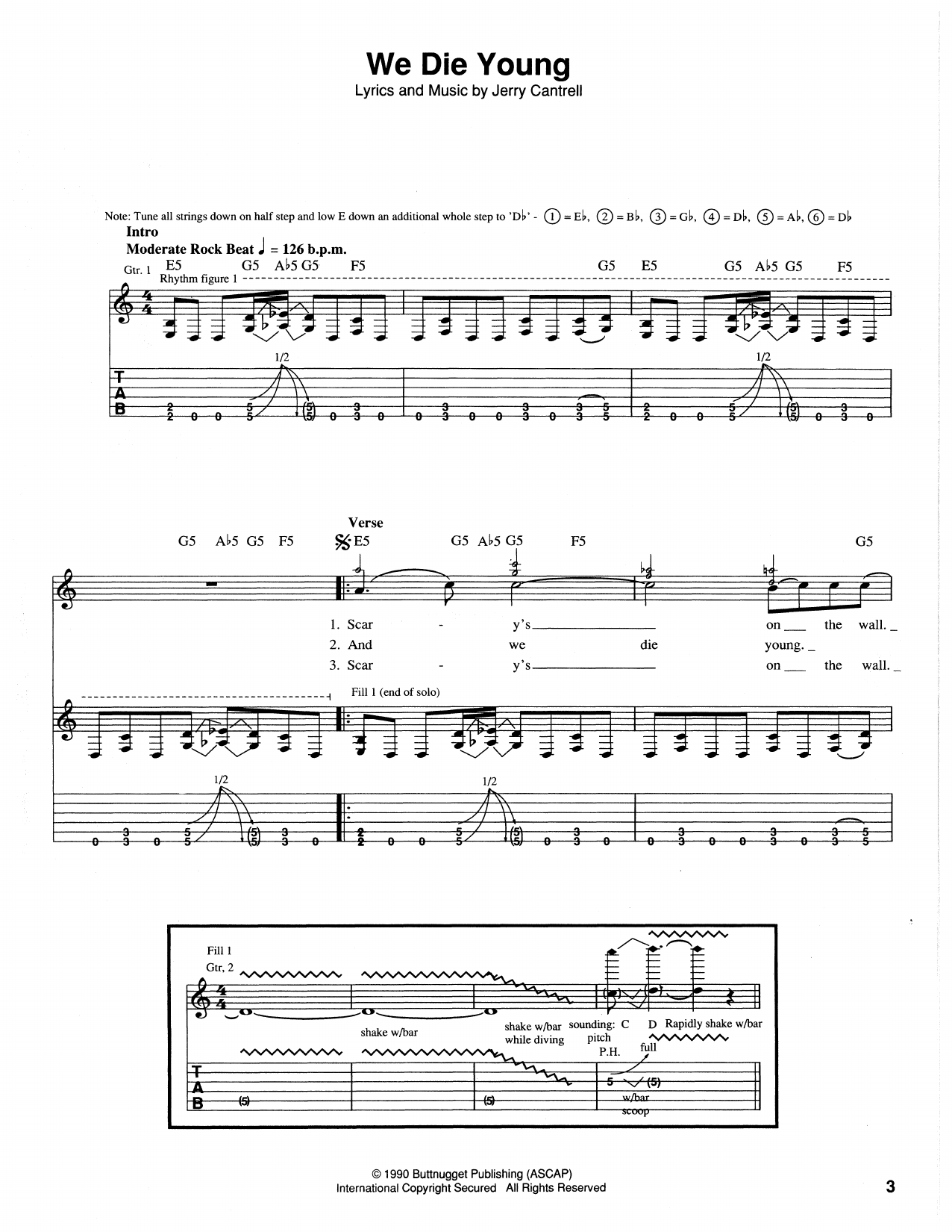 We Die Young Sheet Music
