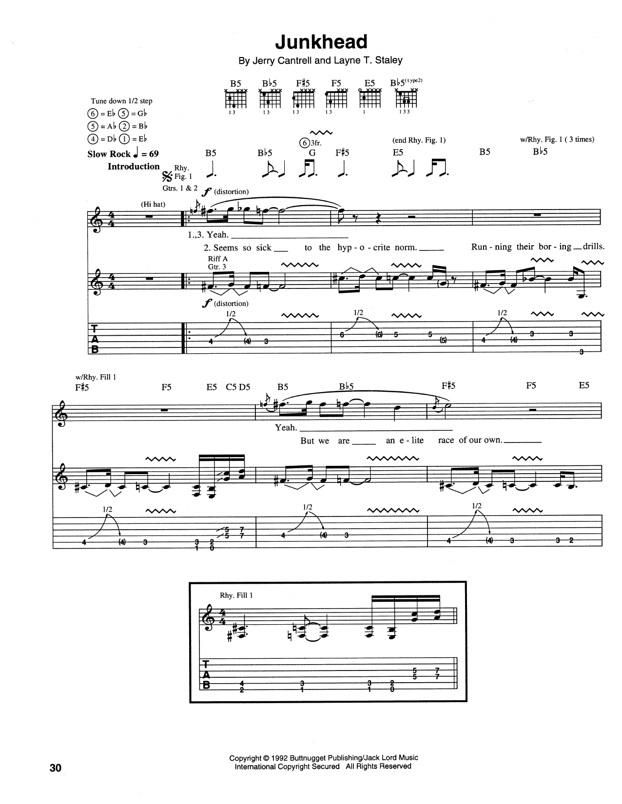 Tablature guitare Junkhead de Alice In Chains - Tablature Guitare