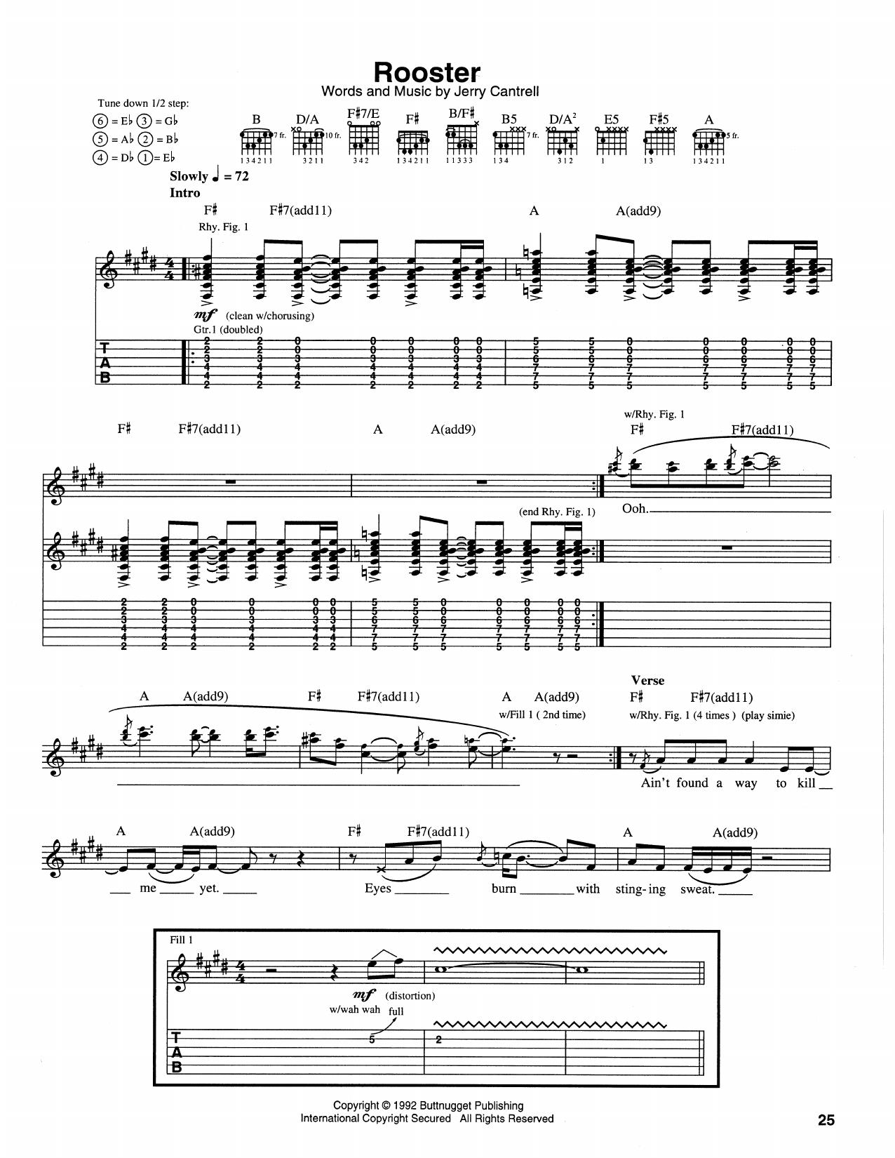 Tablature guitare Rooster de Alice In Chains - Tablature Guitare