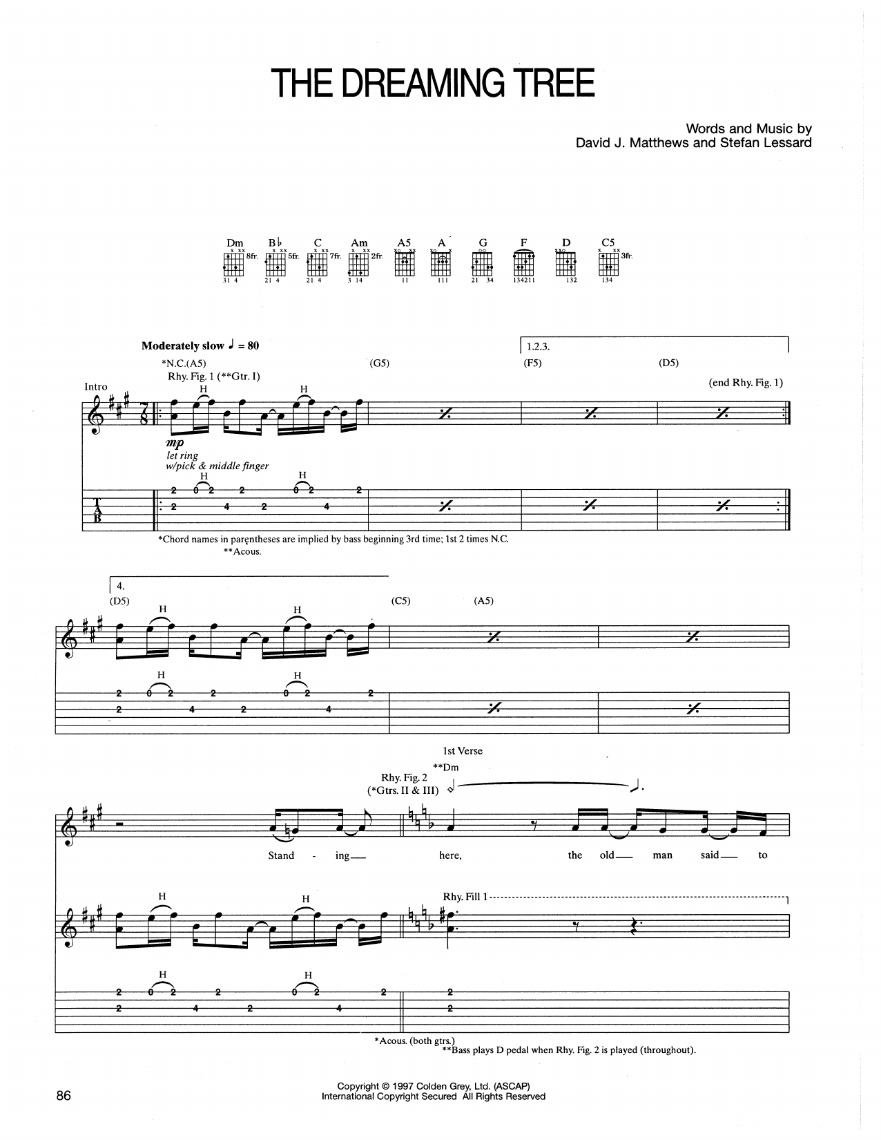 Tablature guitare The Dreaming Tree de Dave Matthews Band - Tablature Guitare
